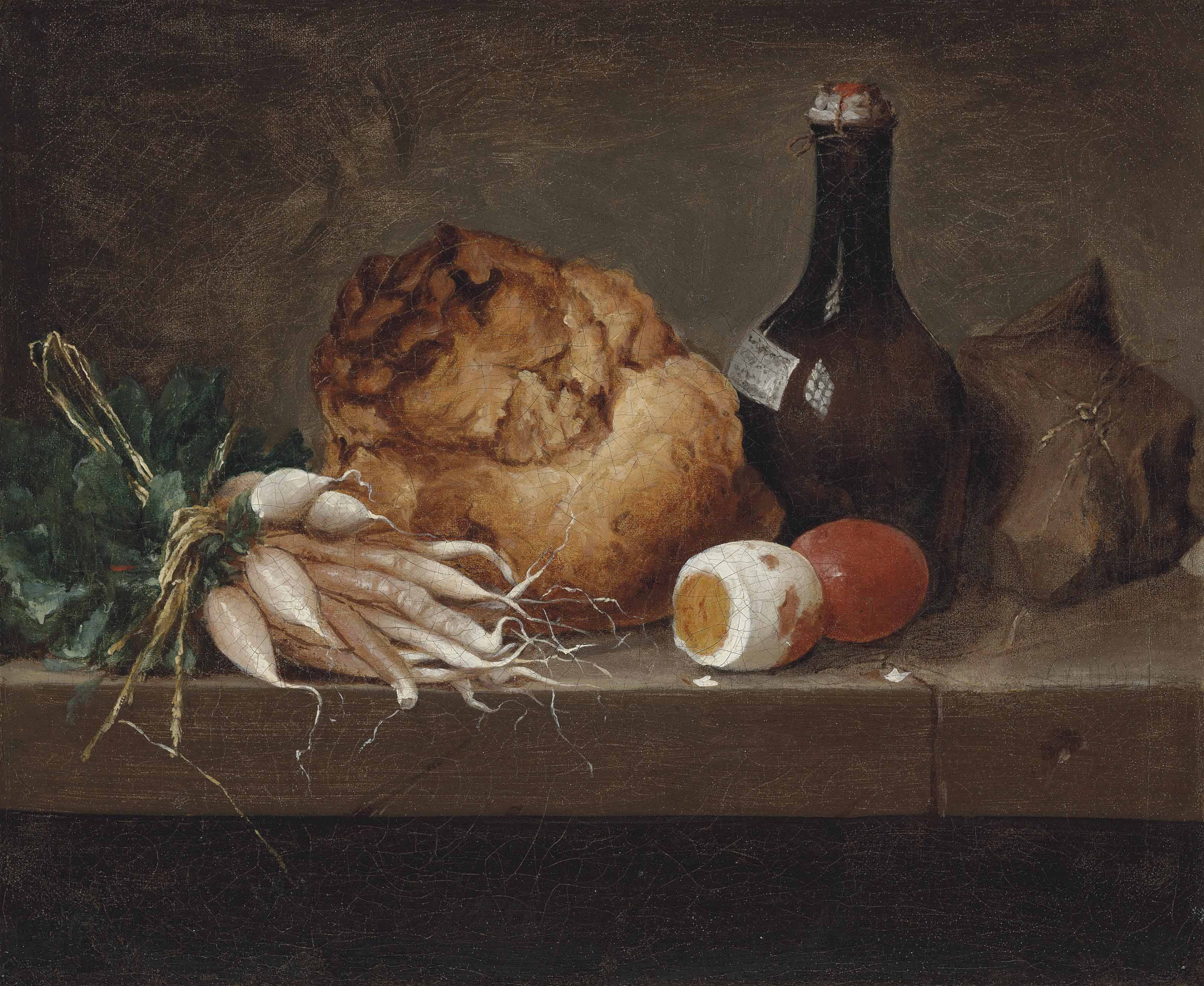 Parsnips, a loaf of bread, eggs and a bottle on a stone ledge
