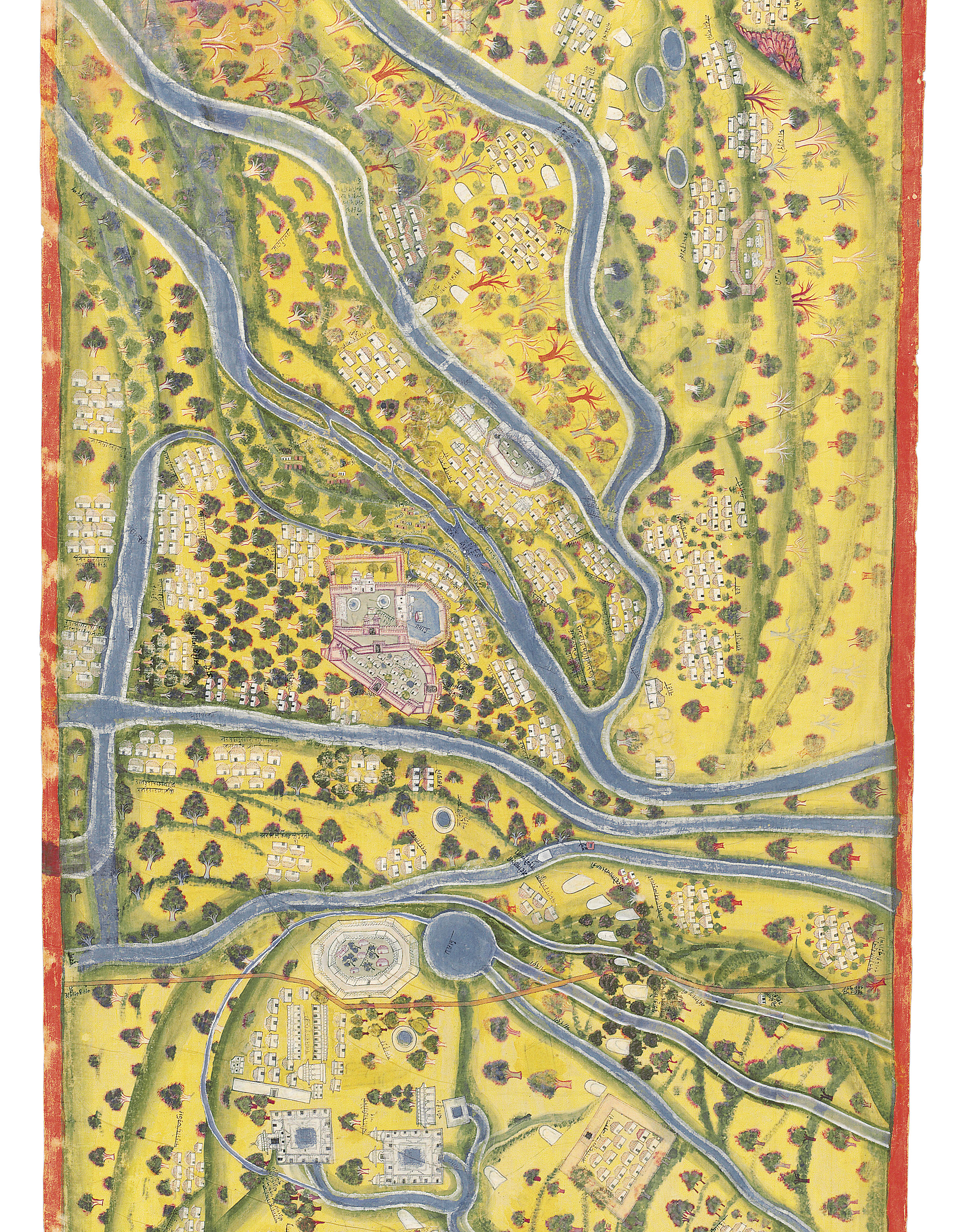 AN IMPORTANT AND VERY LARGE MAP OF PILGRIM SITES ALONG THE GANGES (YATRA PATHA)