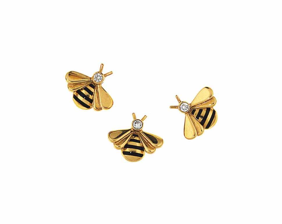 A diamond and enamel bee stud