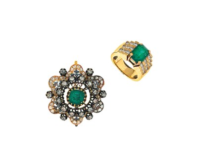 An antique emerald and diamond