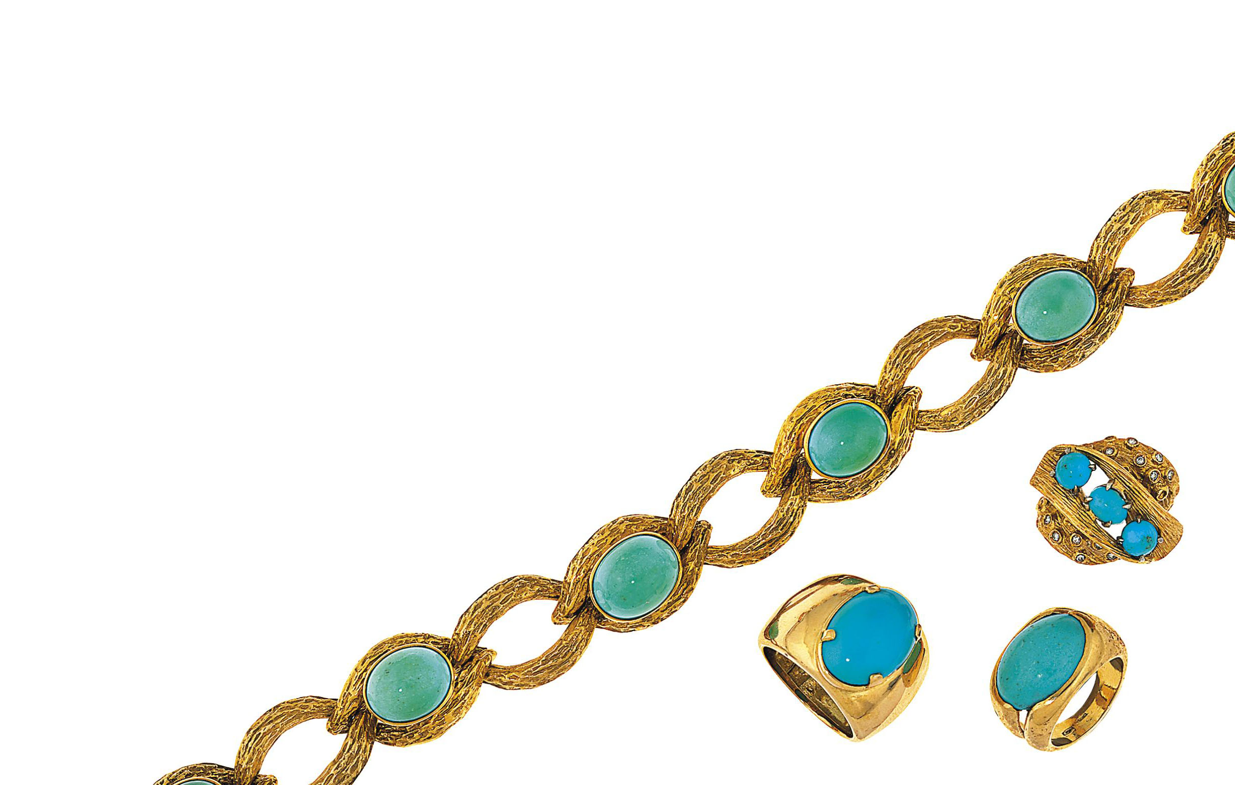 A group of turquoise jewellery
