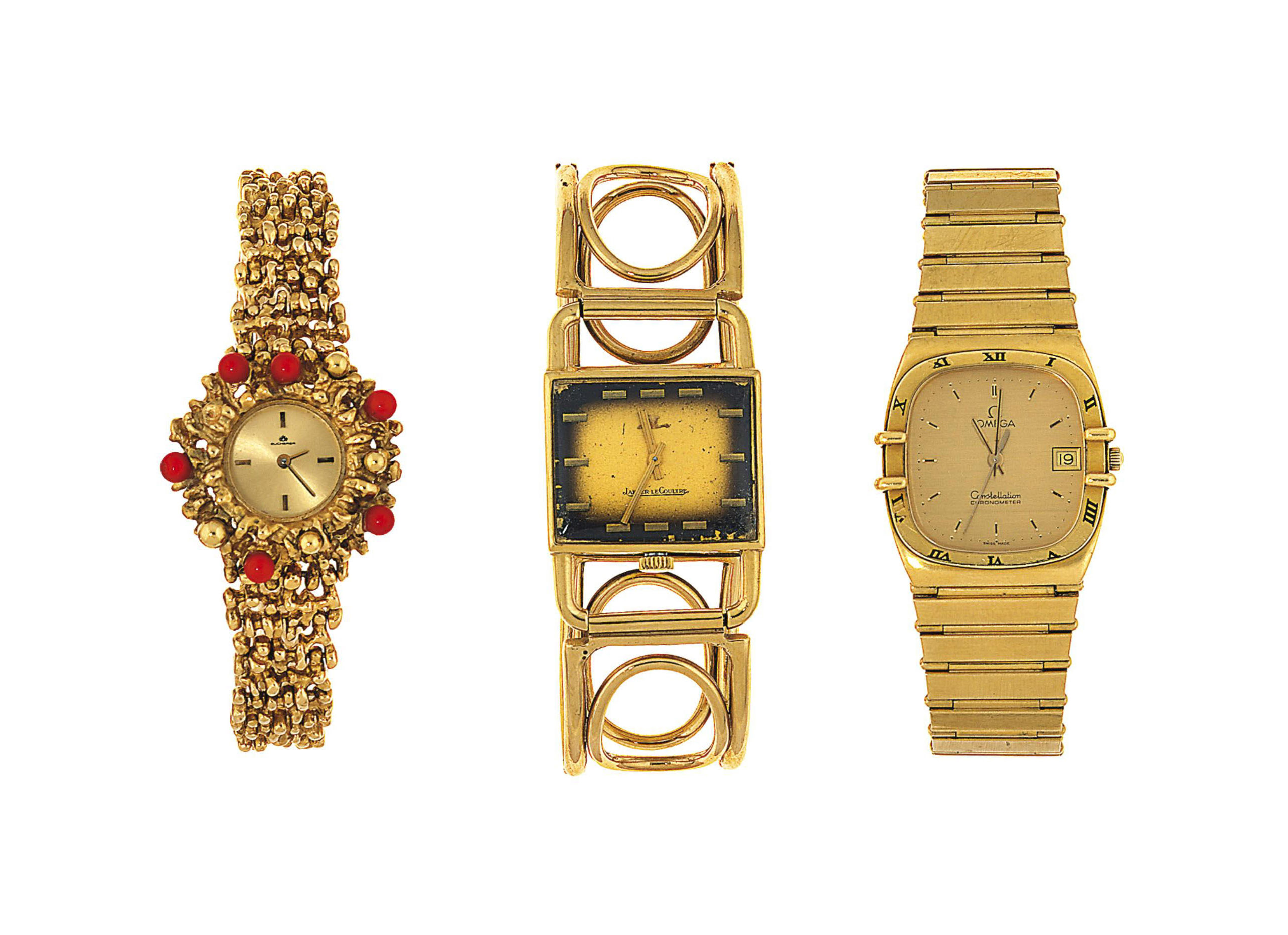 A group of five wristwatches
