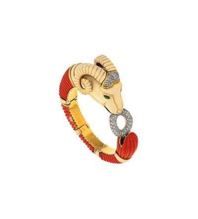 An enamel and gem-set bangle,