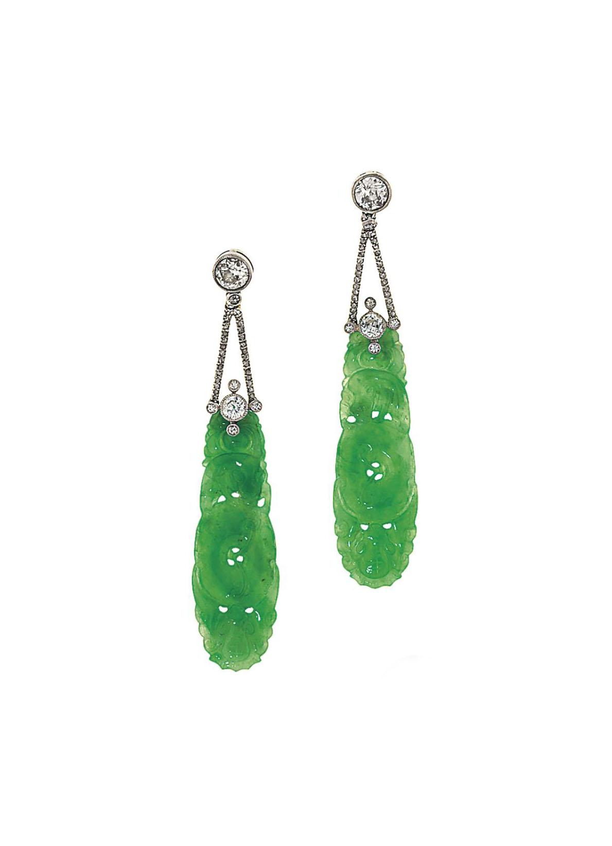 A pair of jadeite jade and dia