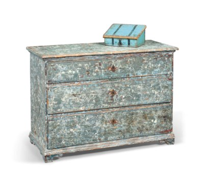 A GUSTAVIAN PAINTED COMMODE