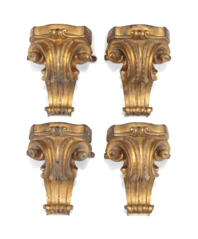 A SET OF FOUR GILT-BRONZE FURN