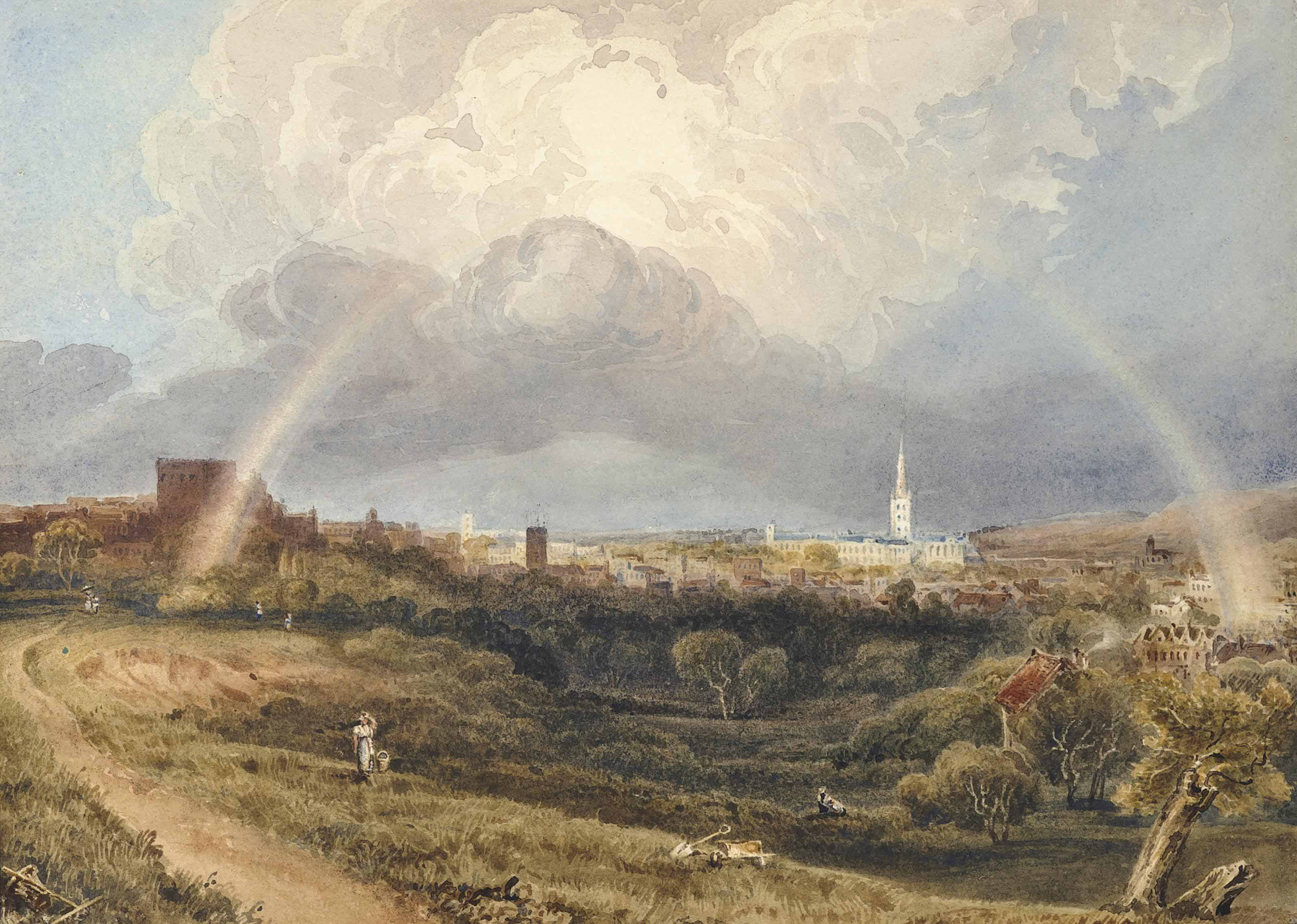 South view of the City of Norwich, Norfolk, with a rainbow above