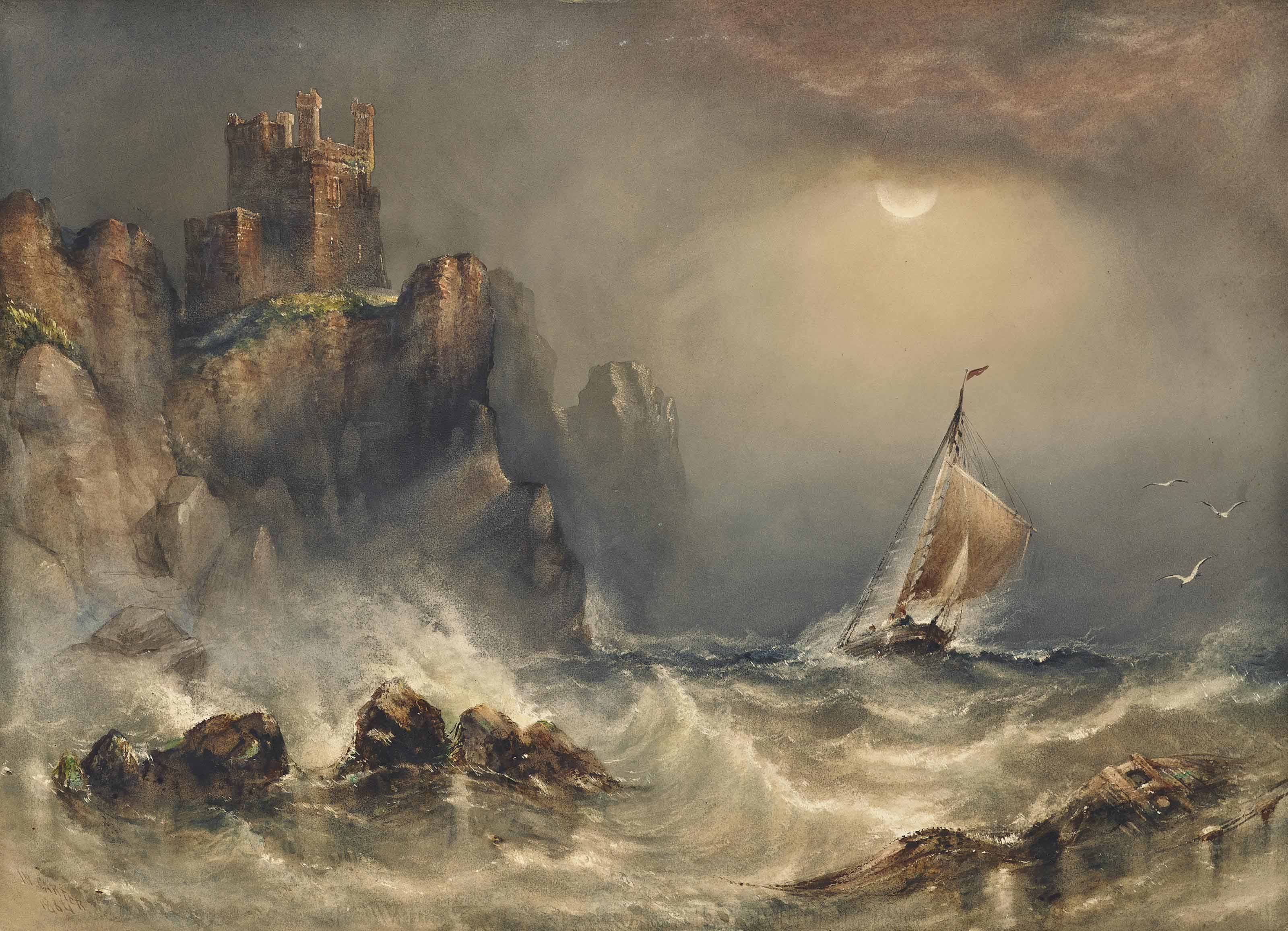 Ship in stormy sea under moonlight, before a castle