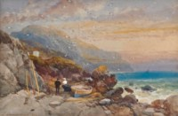 Figures with beached boats on a rocky shoreline, early evening