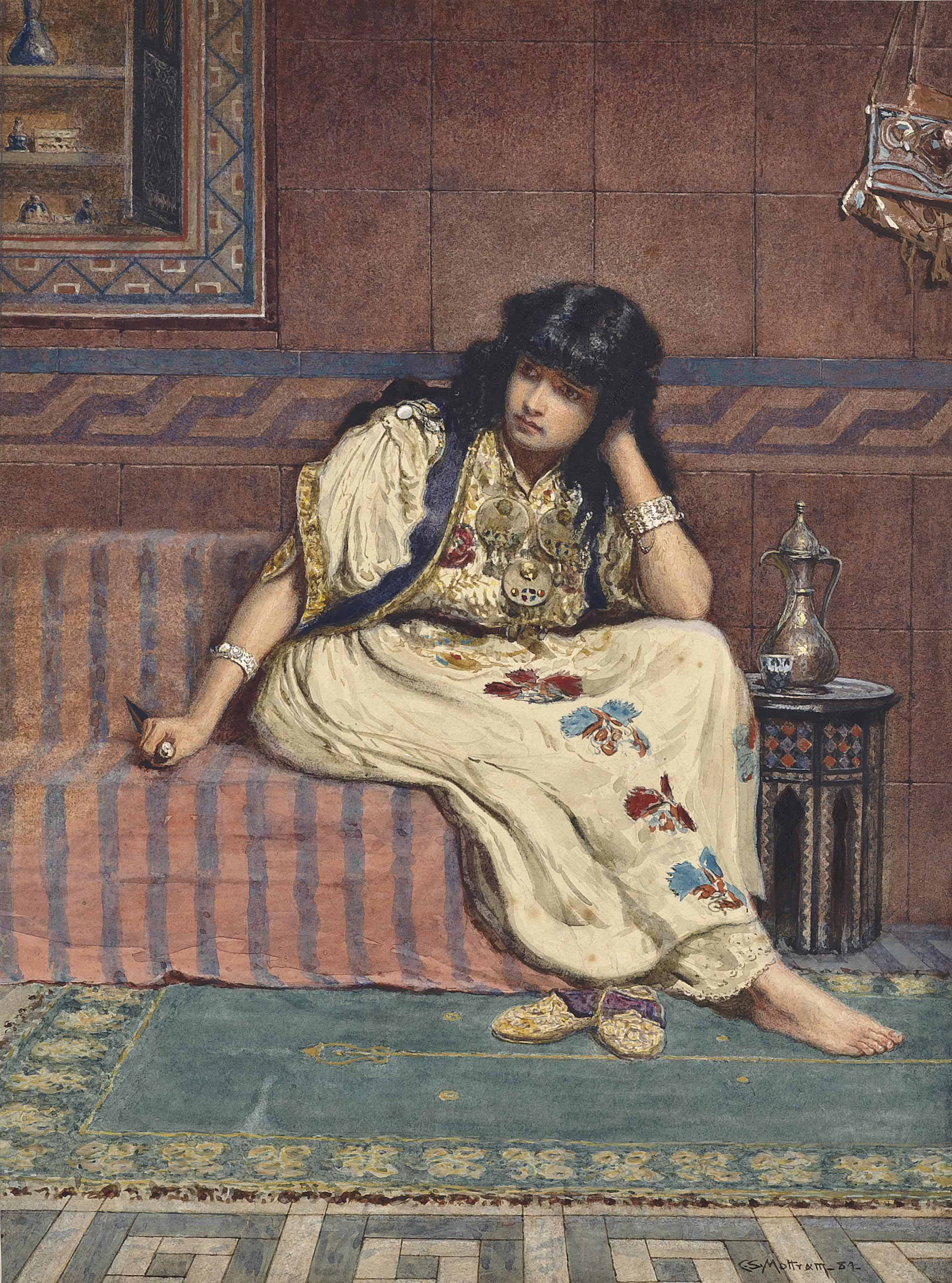 Arab girl seated in an interior, clutching a dagger
