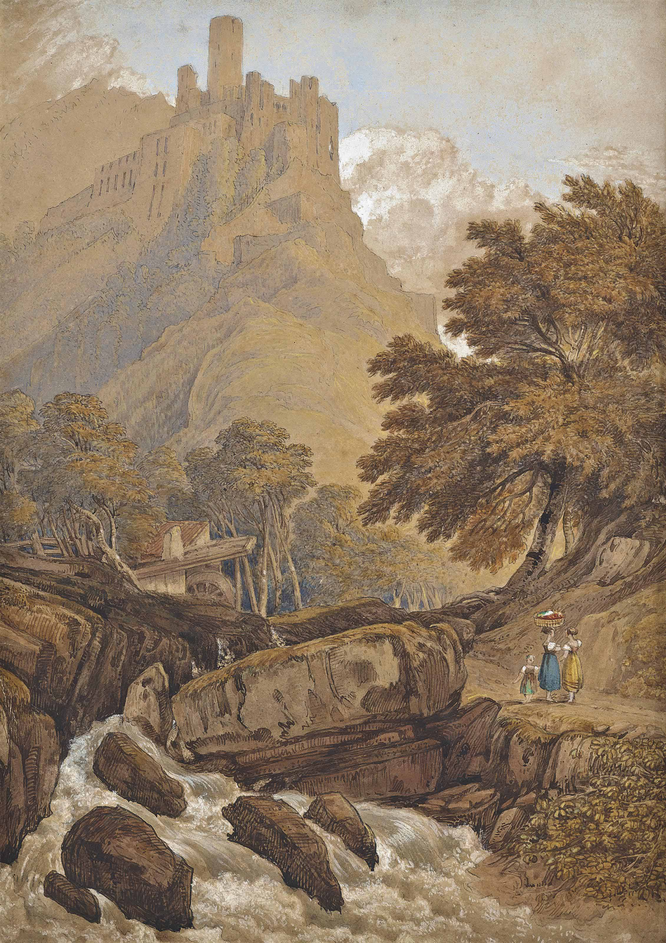 Italianate landscape with a river in spate before a mill, a castle in the distance