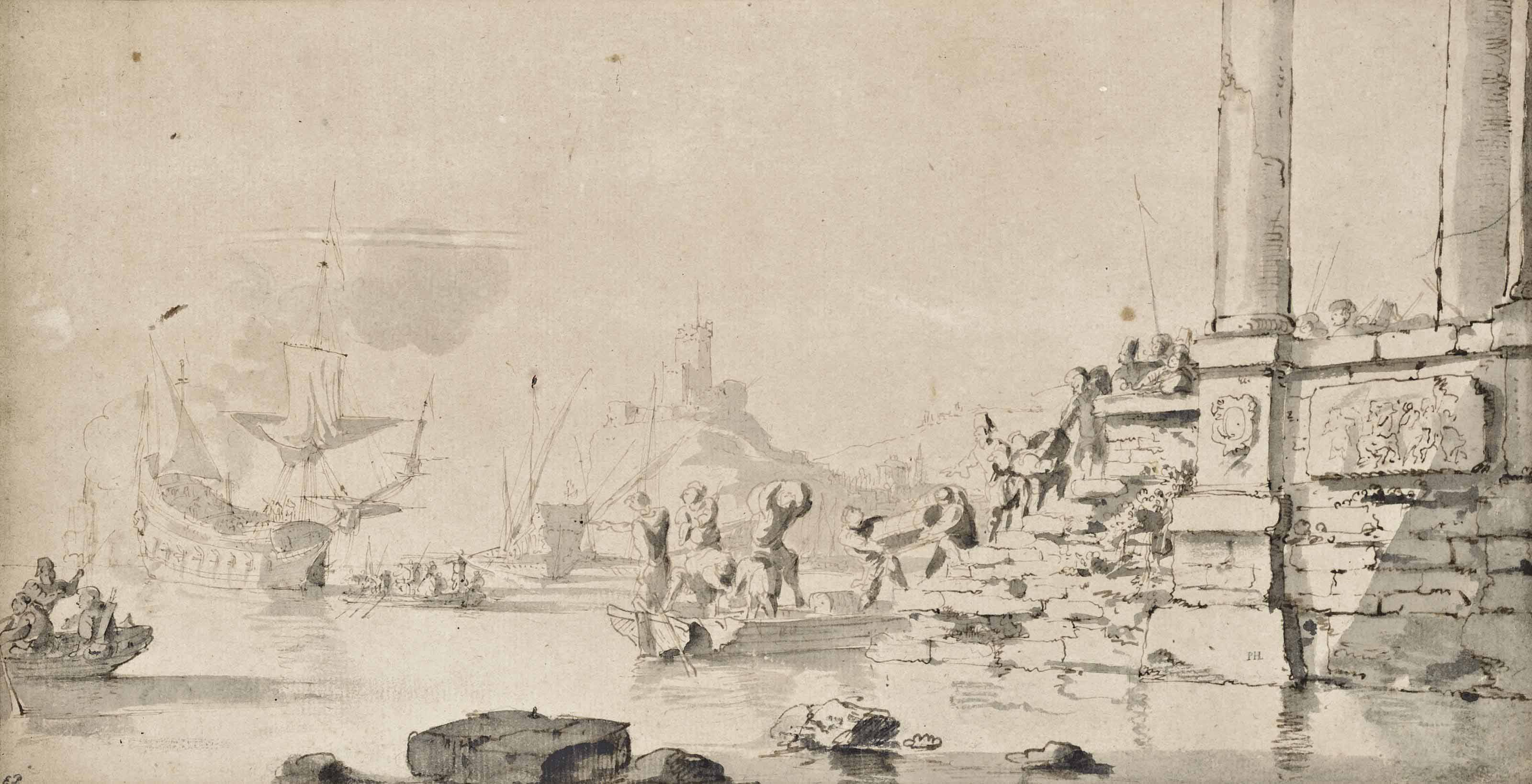 Capriccio landscape with ships in a harbour and figures unloading boats from a quay