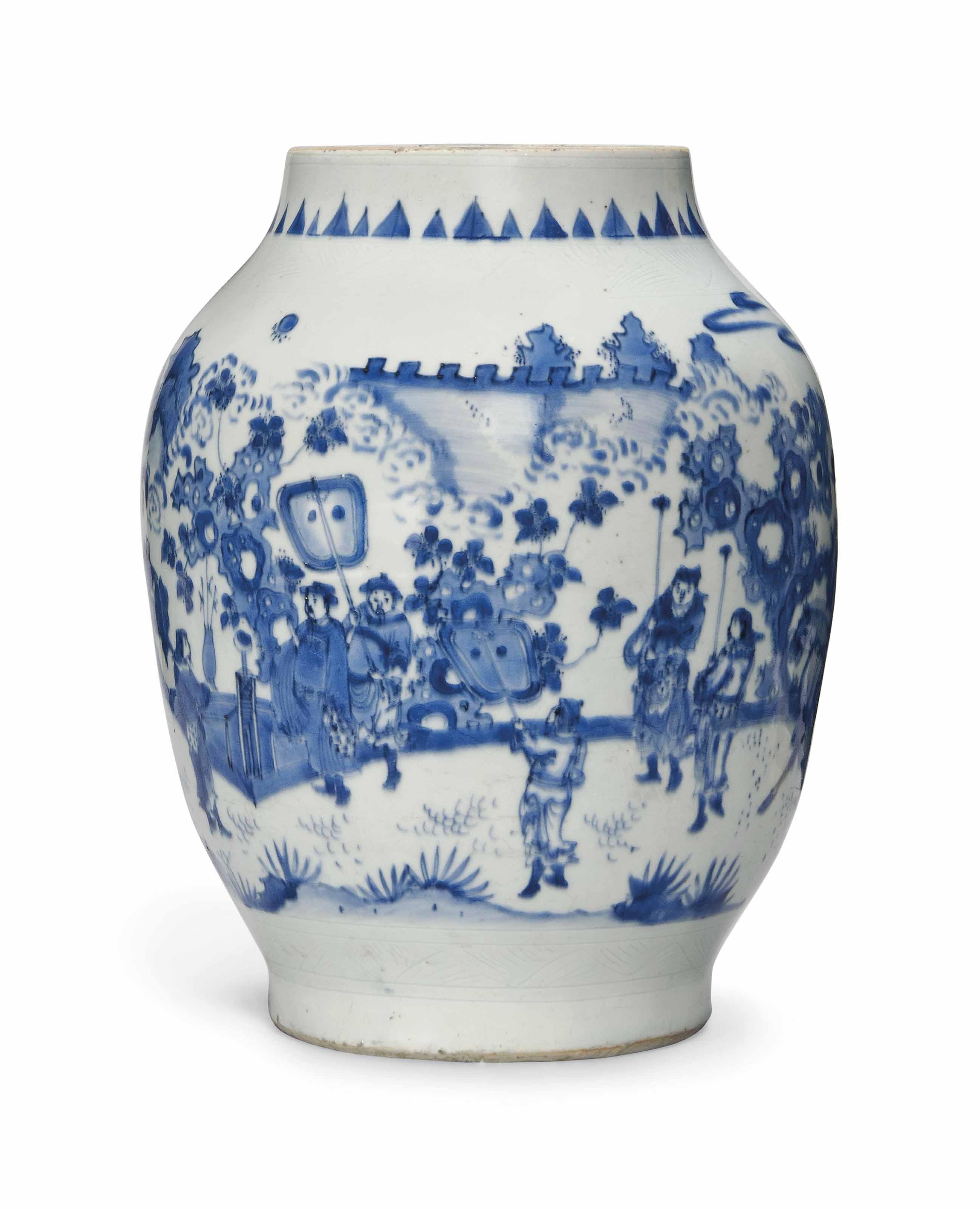 A LARGE BLUE AND WHITE OVIFORM JAR