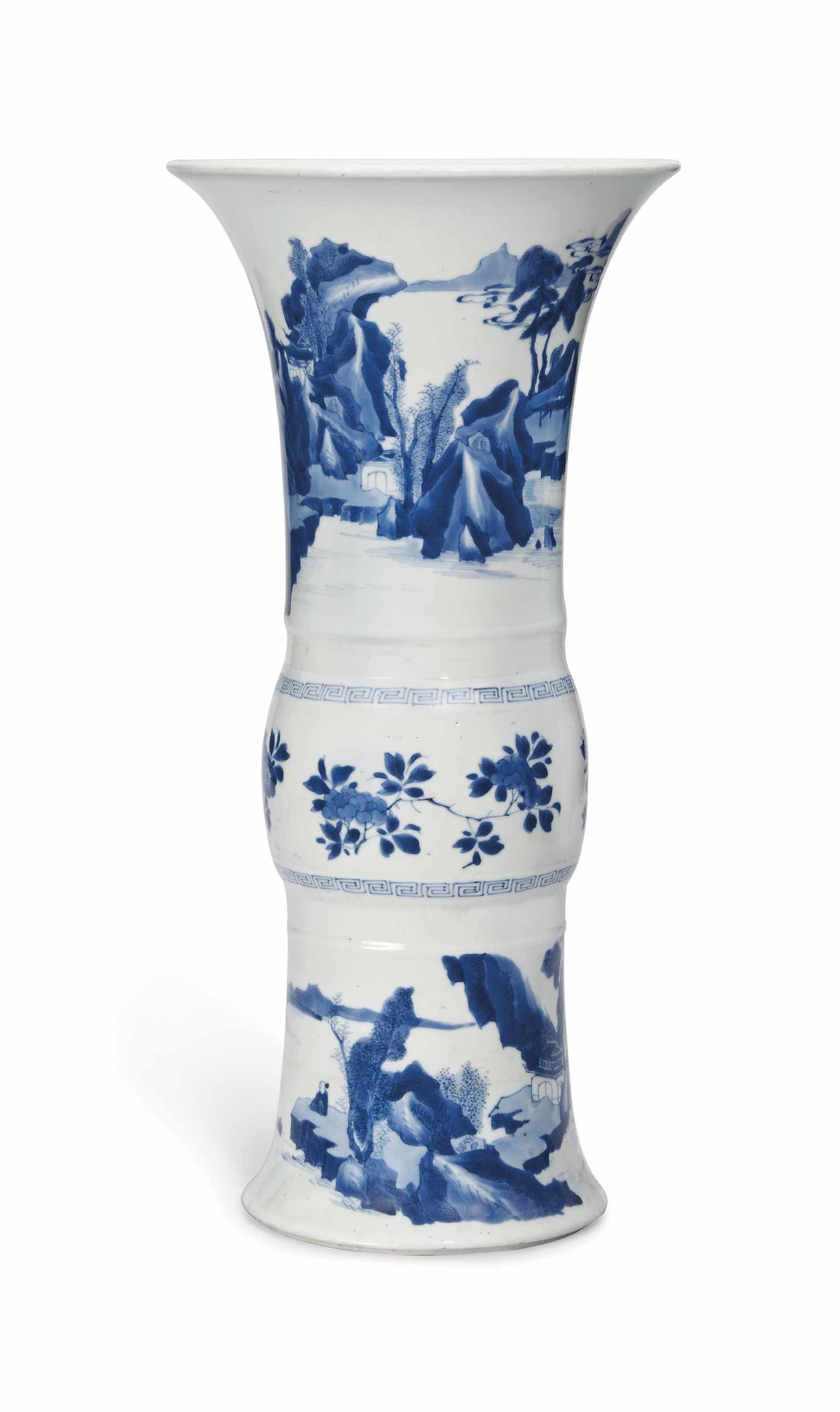A BLUE AND WHITE VASE, GU