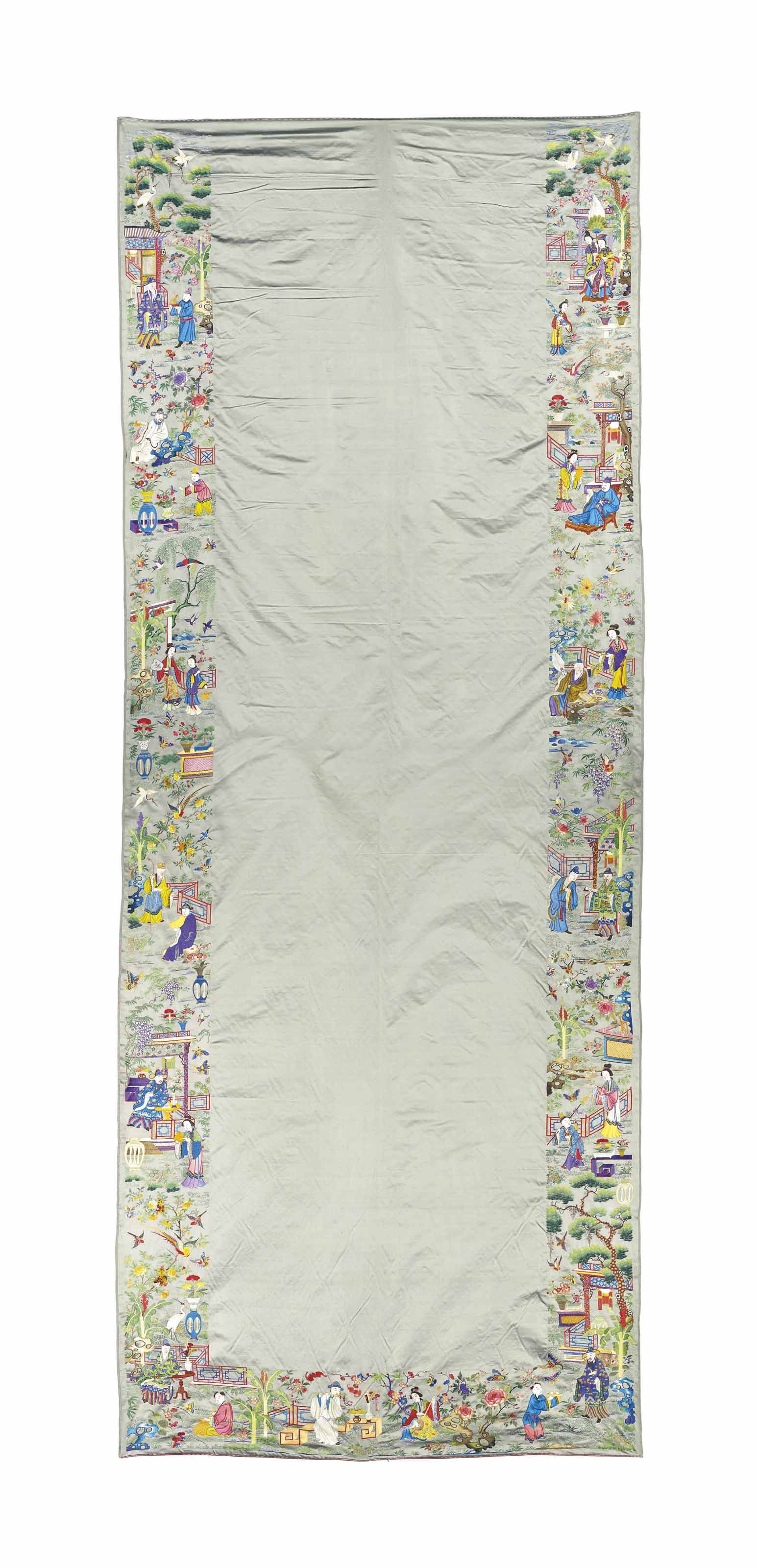 AN EMBROIDERED 'IMMORTAL' SILK WALL HANGING