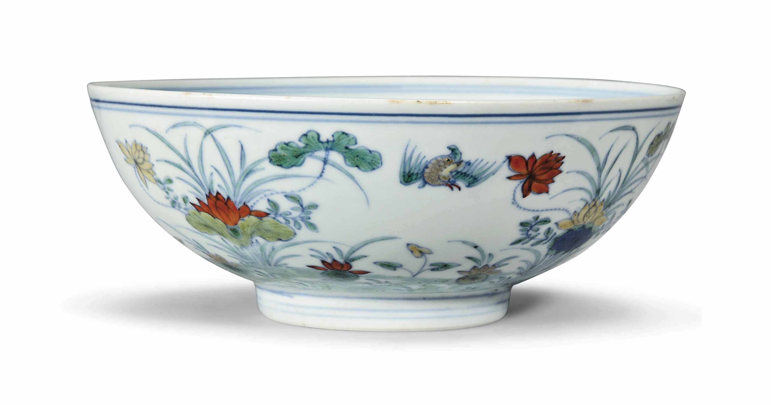 A DOUCAI 'DUCK AND LOTUS' BOWL