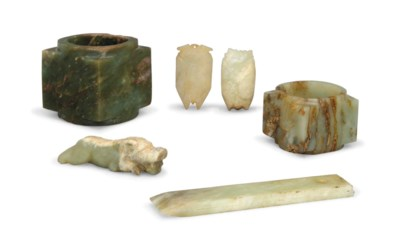 A GROUP OF SIX ARCHAIC JADE CA