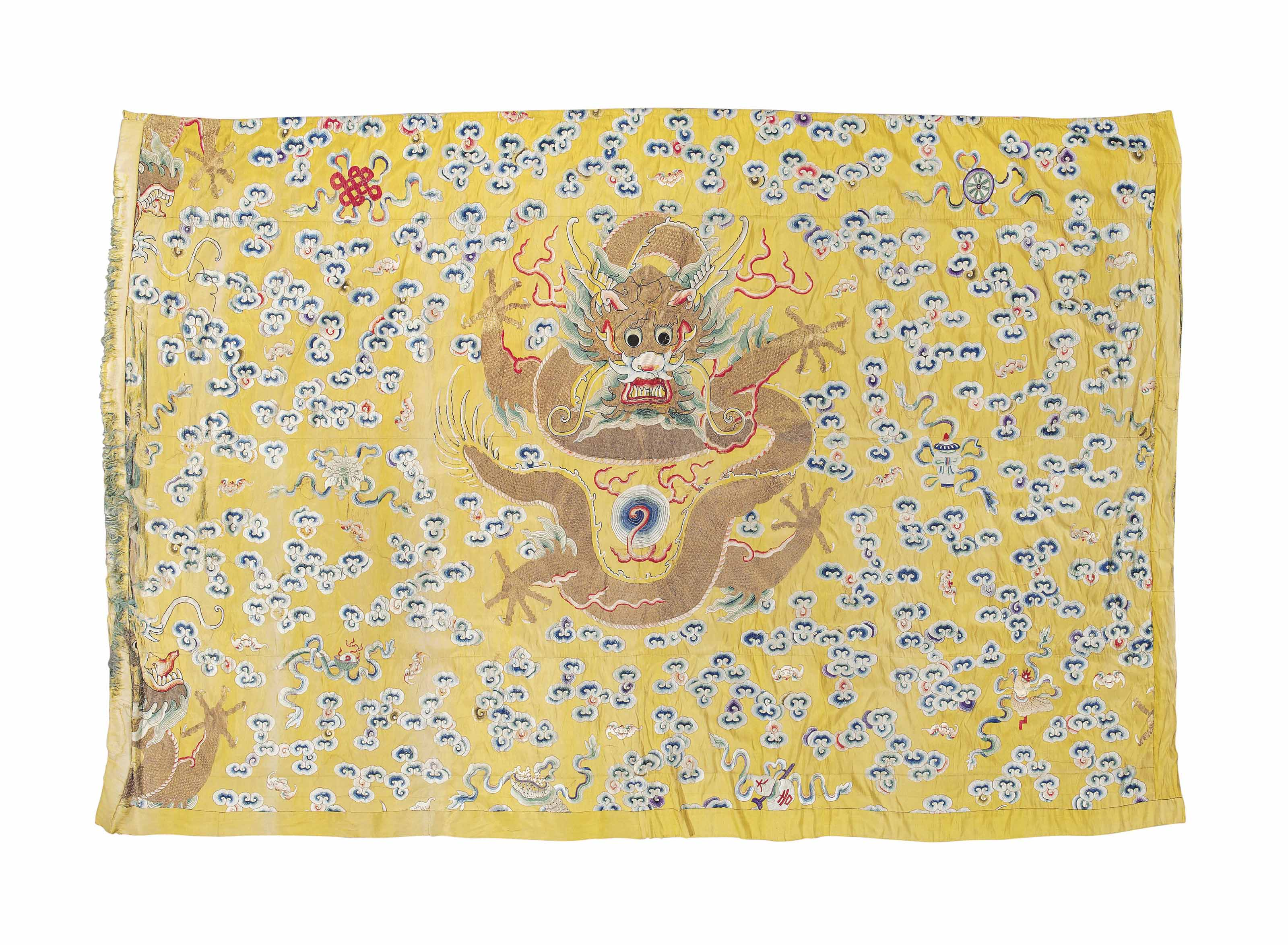 AN EMBROIDERED YELLOW-GROUND WALL HANGING