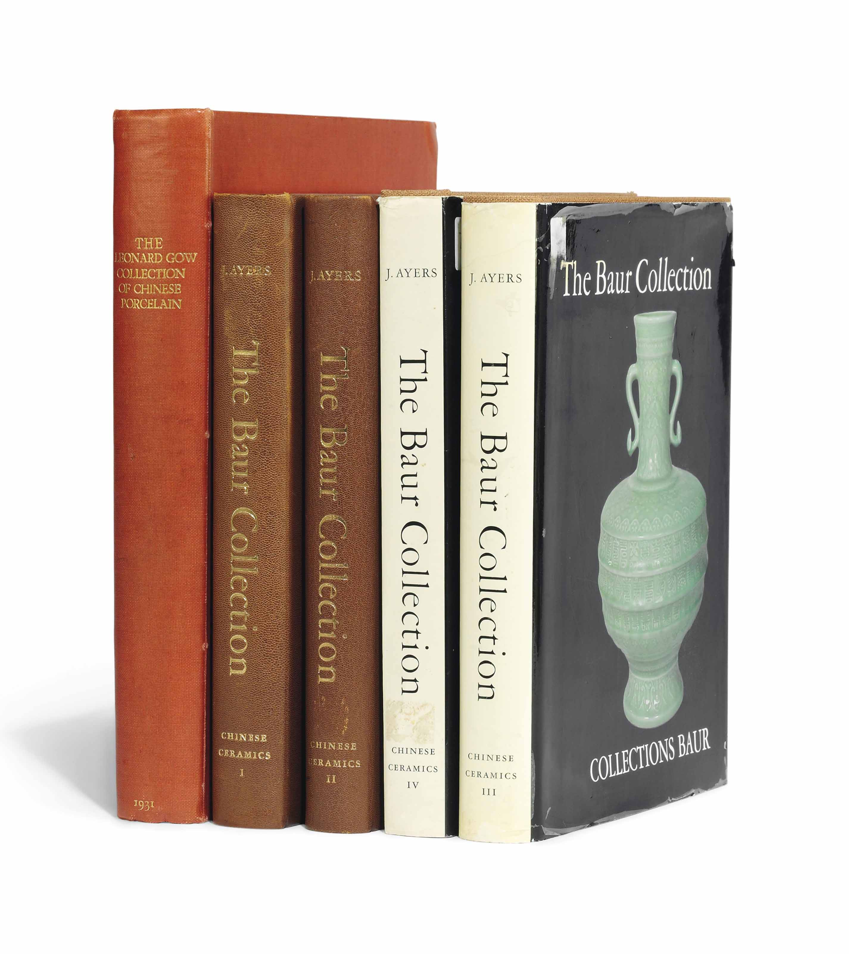 HOBSON, R.L. The Catalogue of The Leonard Gow Collection of Chinese Porcelain, London, 1931, printed by George W.Jones at The Sign of the Dolphin, 1931, numerous colour photographic plates, original cloth; AYERS J., The Baur Collection Geneva, Chinese Ceramics Vols I-V, Geneva, 1968-74, C.F.Pezotti, 1968-74, four volumes, two dust jackets, numerous photographic plates
