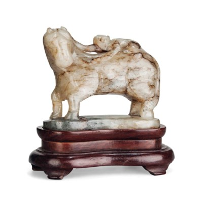 A MOTTLED GREY JADE 'HORSE AND