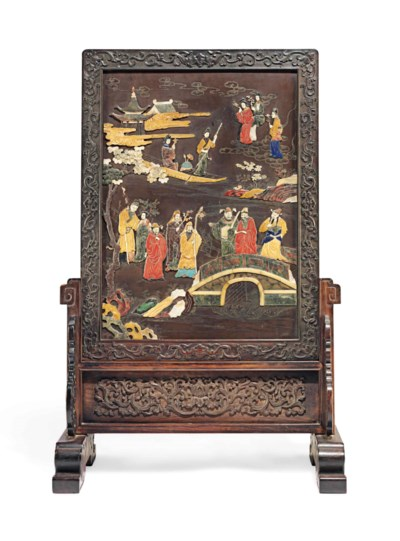 AN INLAID WOOD SCREEN WITH ZIT