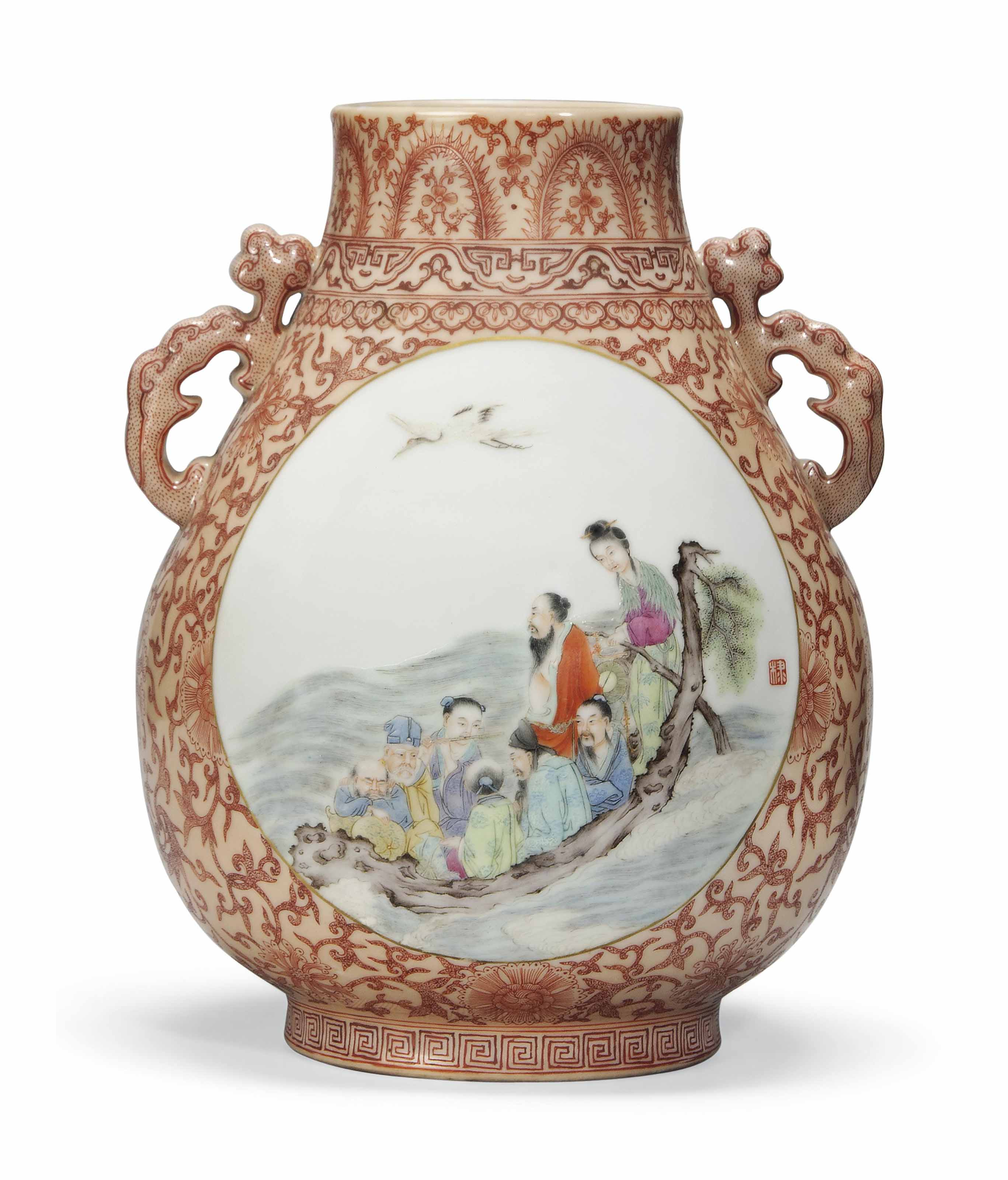 A FAMILLE ROSE TWO-HANDLED VAS