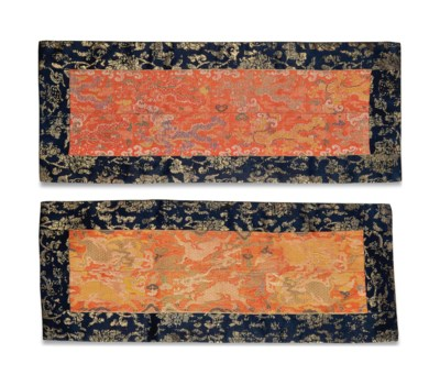 TWO BROCADE SUTRA COVERS
