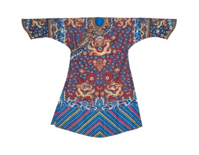 A BROWN SILK COURT ROBE FOR AN