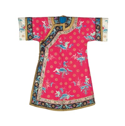 AN EMBROIDERED CERISE-GROUND W