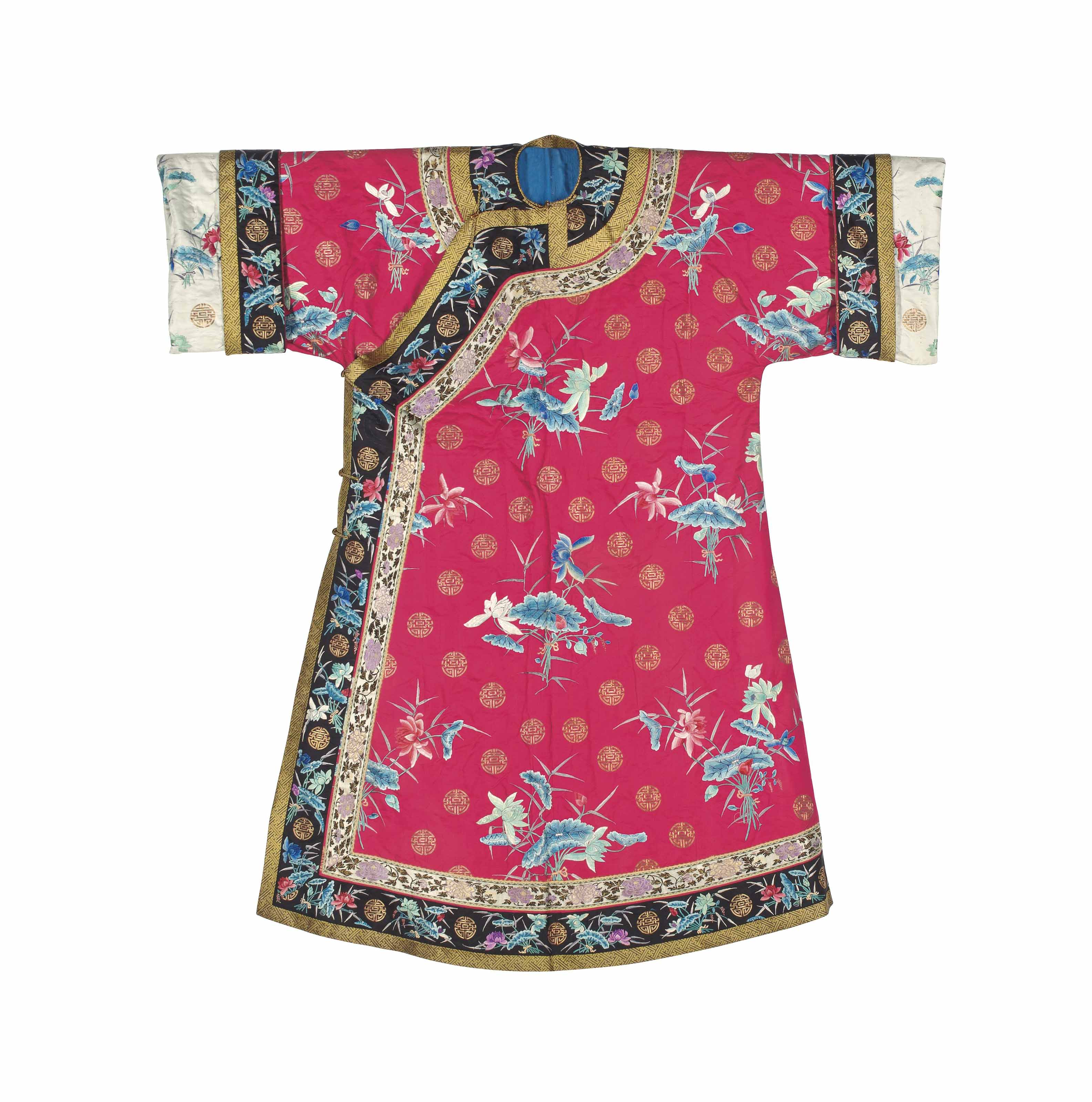 AN EMBROIDERED CERISE-GROUND WINTER ROBE FOR A LADY
