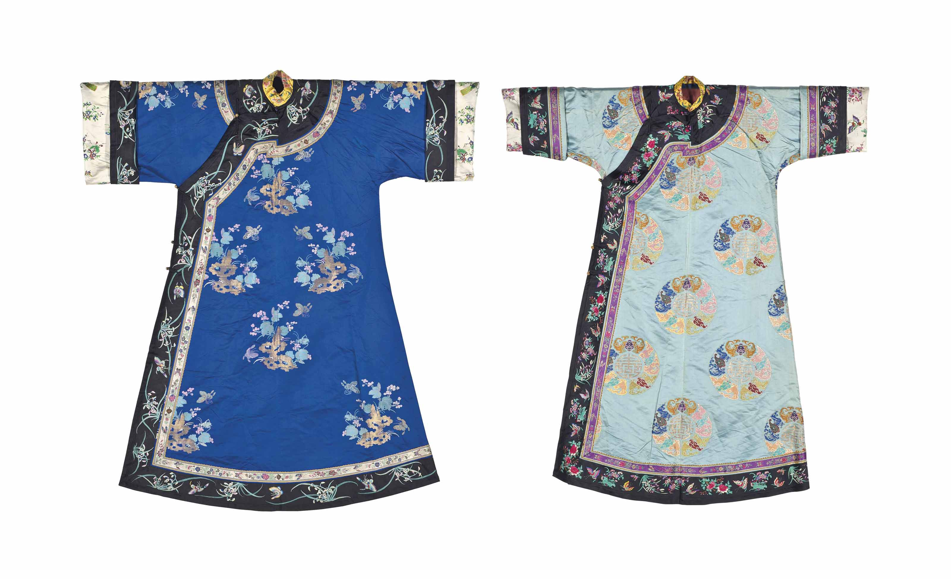 TWO BROCADE INFORMAL ROBES FOR