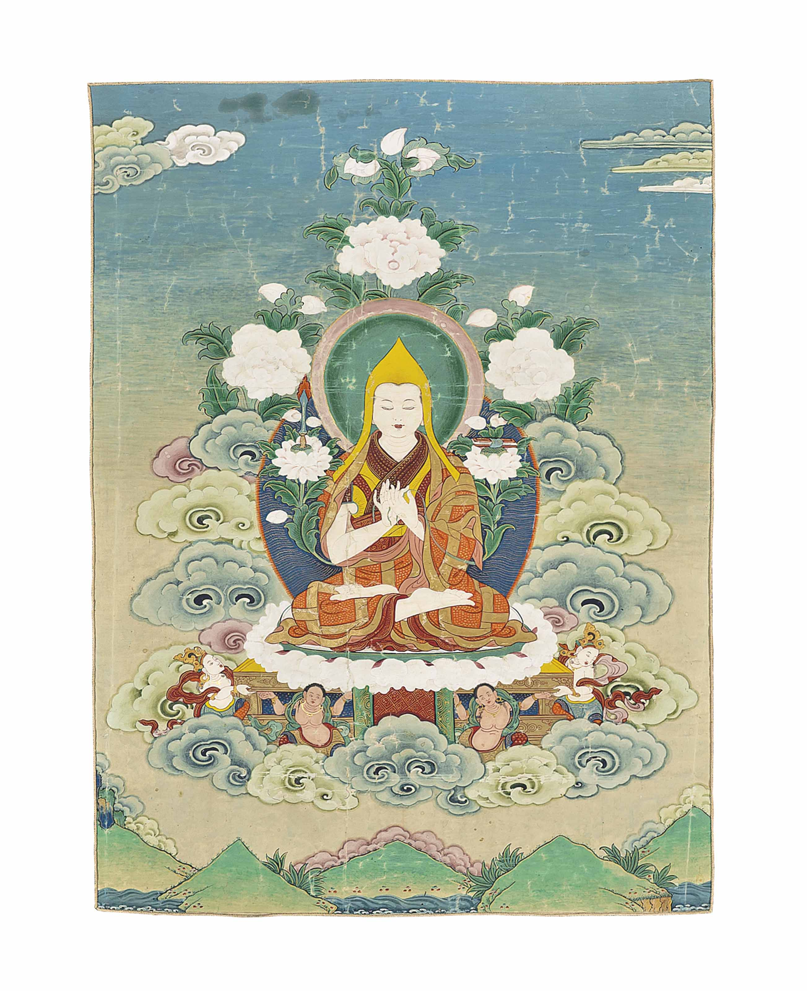 A THANGKA DEPICTING TSONGKHAPA