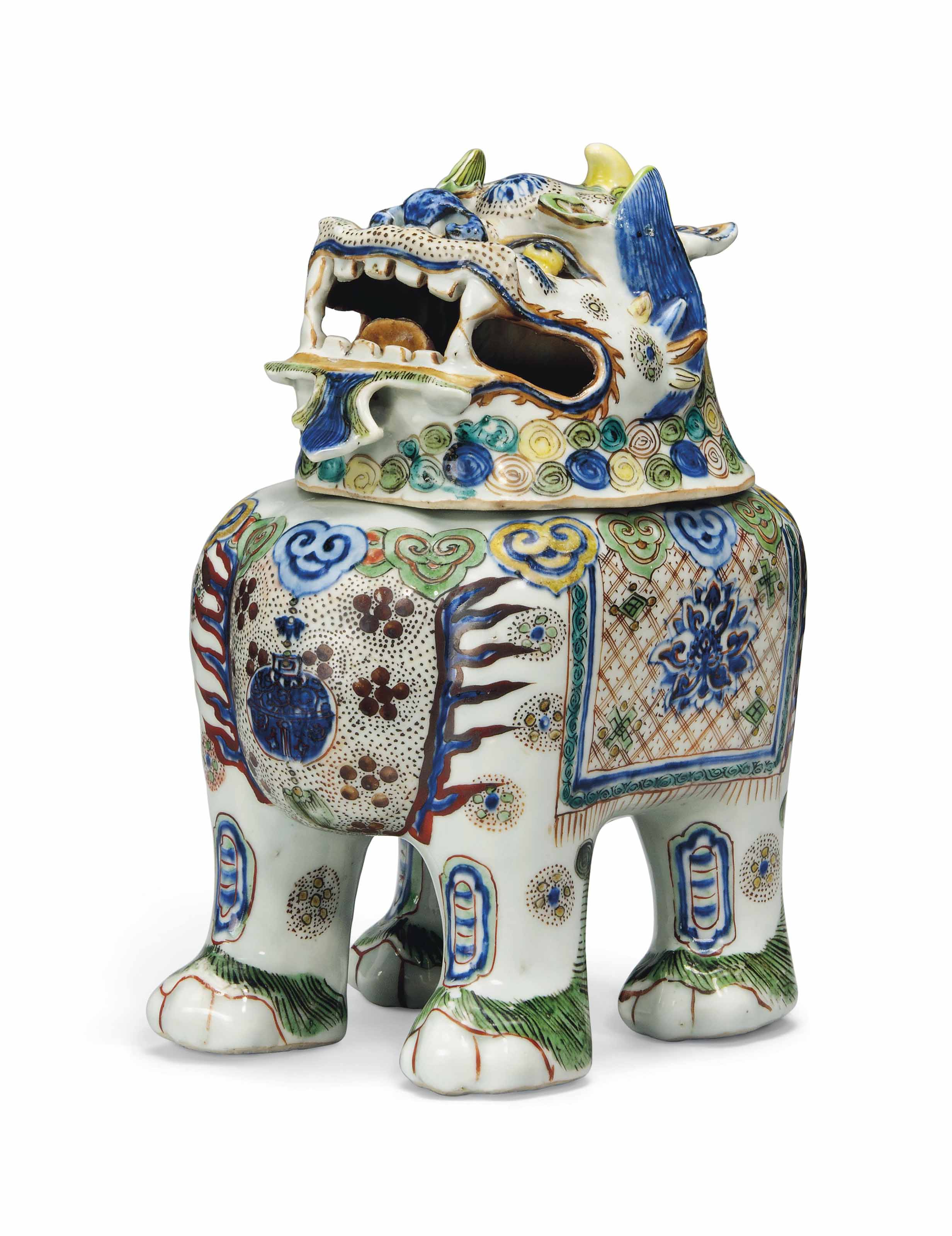 A WUCAI 'BUDDHIST LION' CENSER