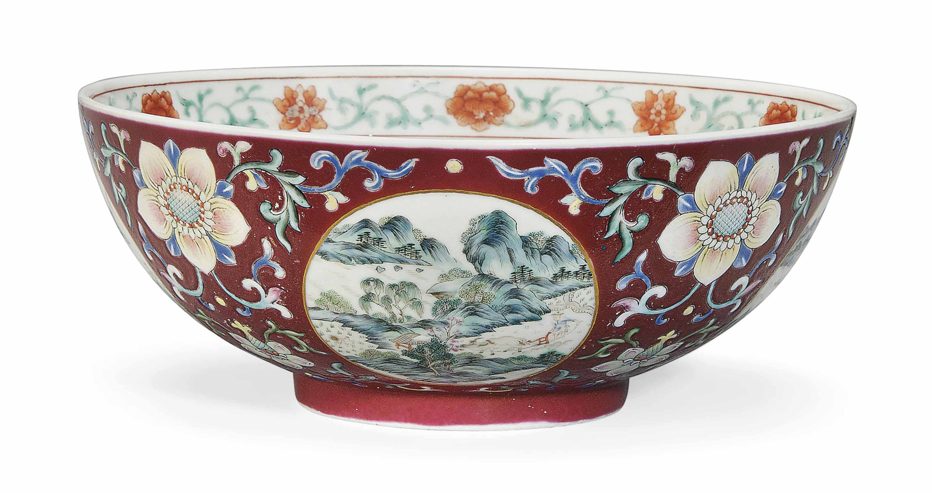 A FAMILLE ROSE RUBY-GROUND 'MEDALLION' BOWL