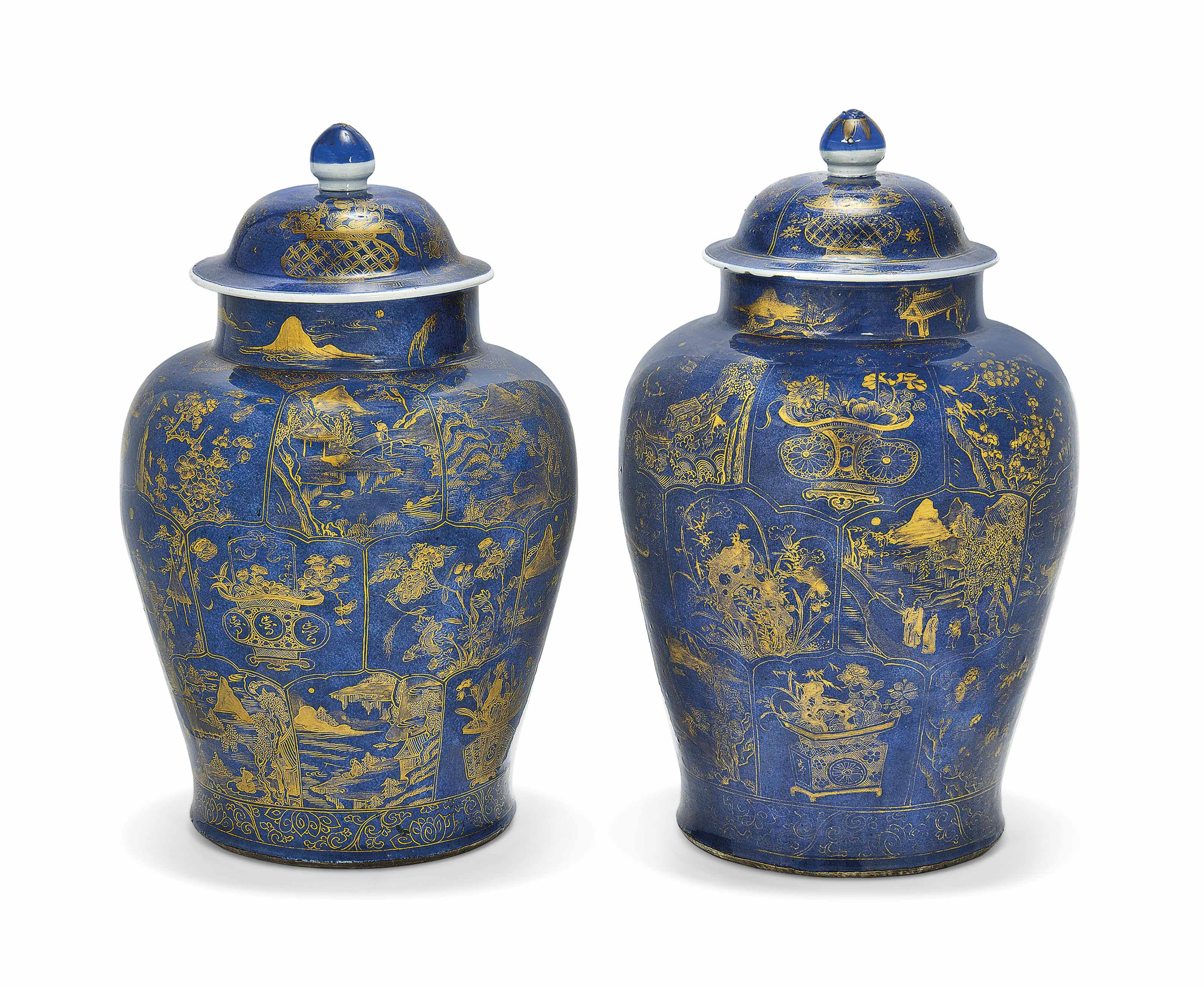 A PAIR OF LARGE GILT-DECORATED
