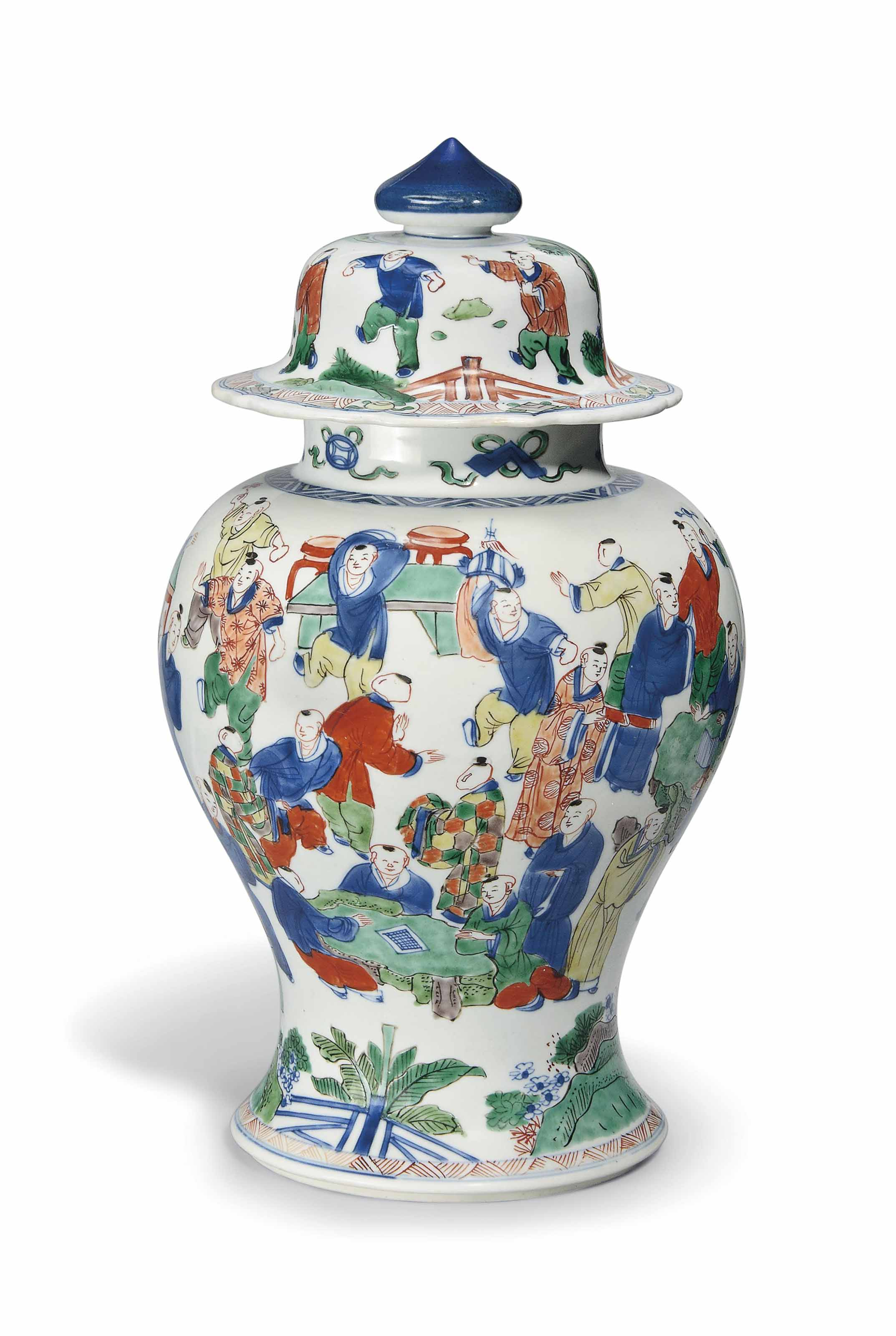 A WUCAI 'HUNDRED BOYS' VASE AN