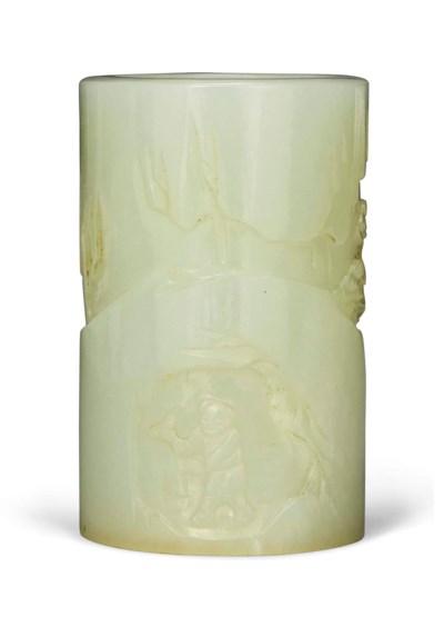 A SMALL WHITE JADE BRUSH POT