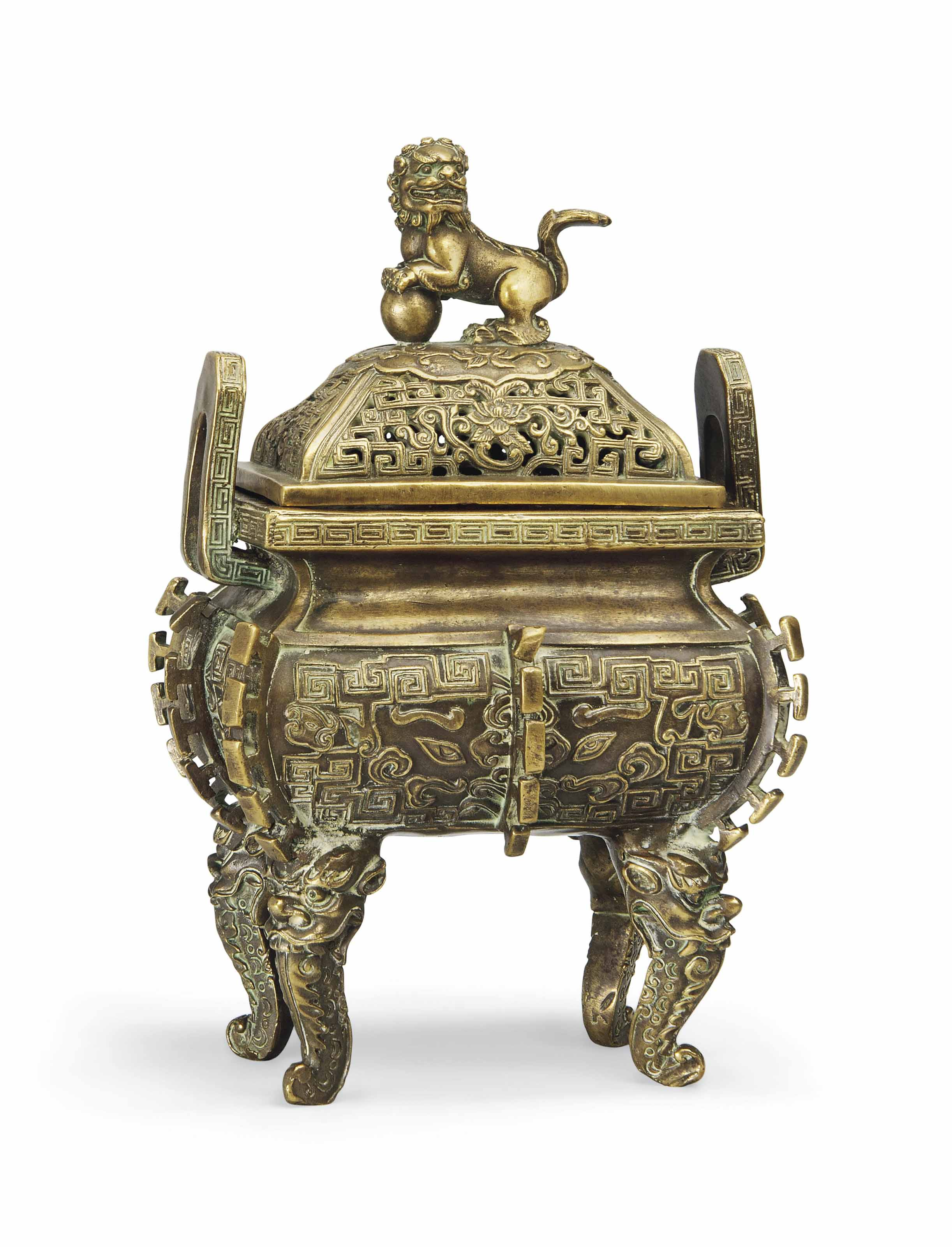 A GILT BRONZE CENSER AND COVER