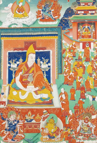 A THANGKA DEPICTING A LAMA