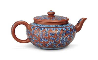 A BLUE-ENAMELLED YIXING TEAPOT