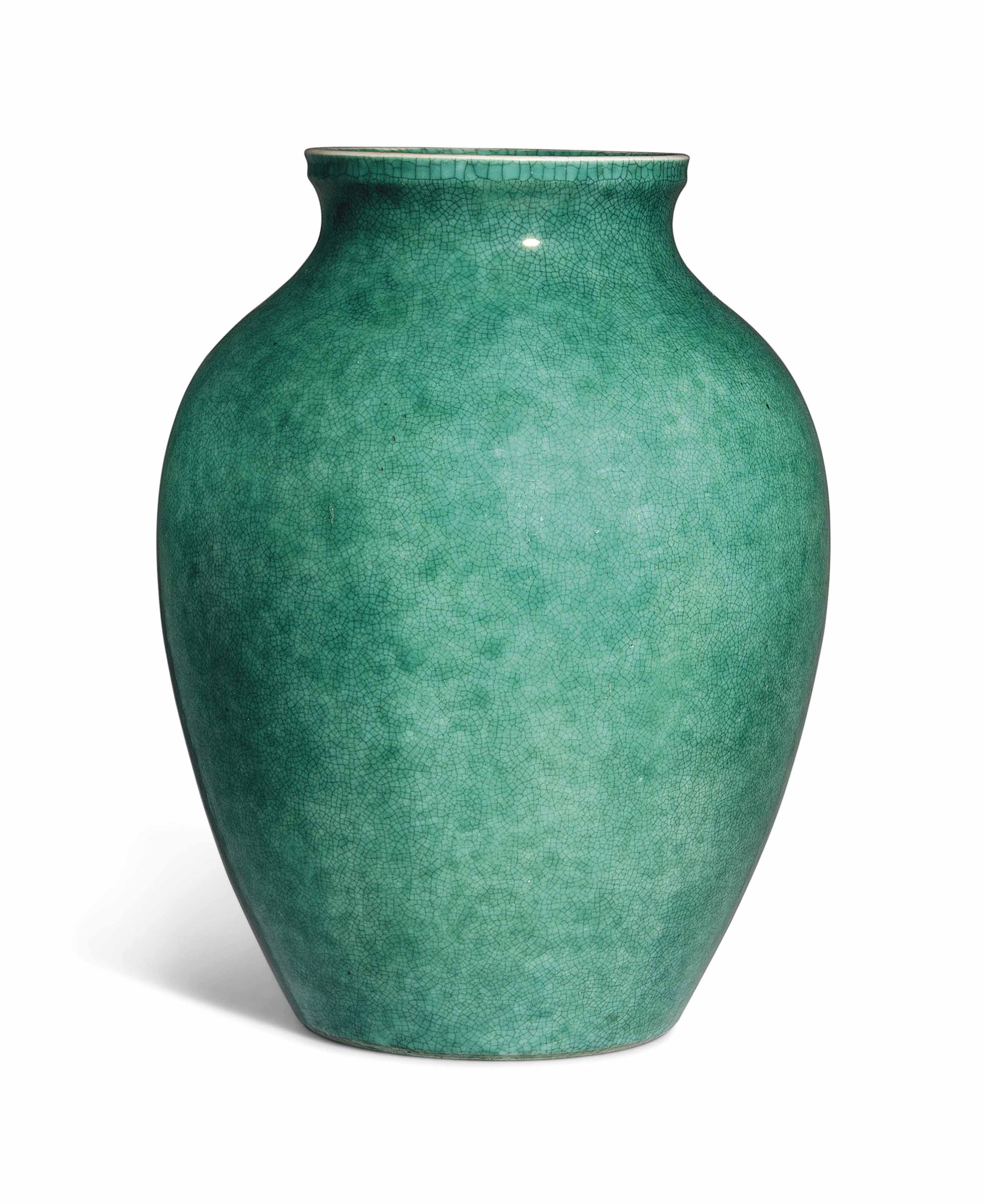 AN APPLE-GREEN-GLAZED JAR