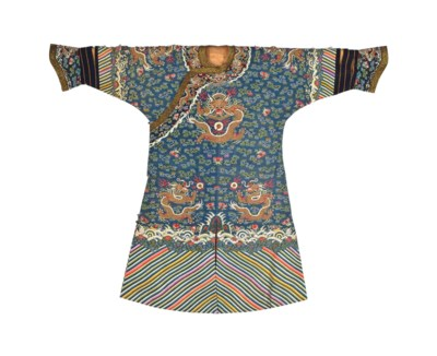 A BLUE SILK KESI COURT ROBE, J