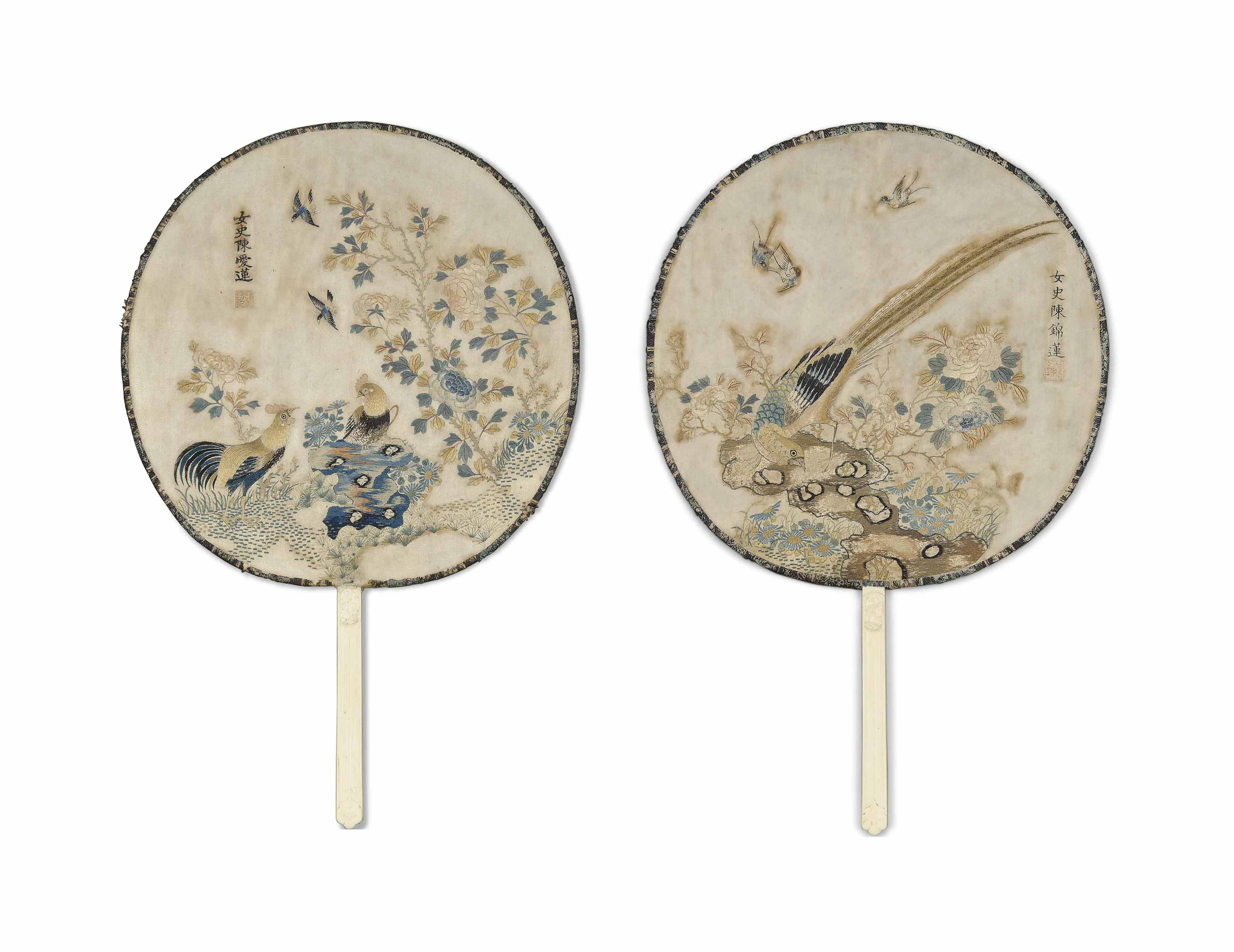 TWO EMBROIDERED SILK FANS
