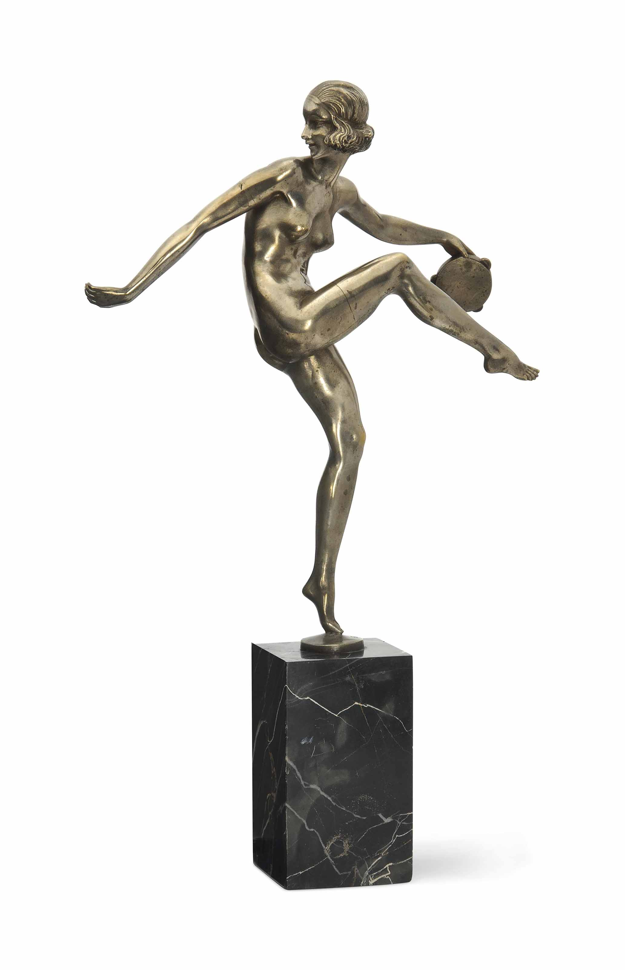 A PIERRE LAUREL SILVERED-BRONZE FIGURE