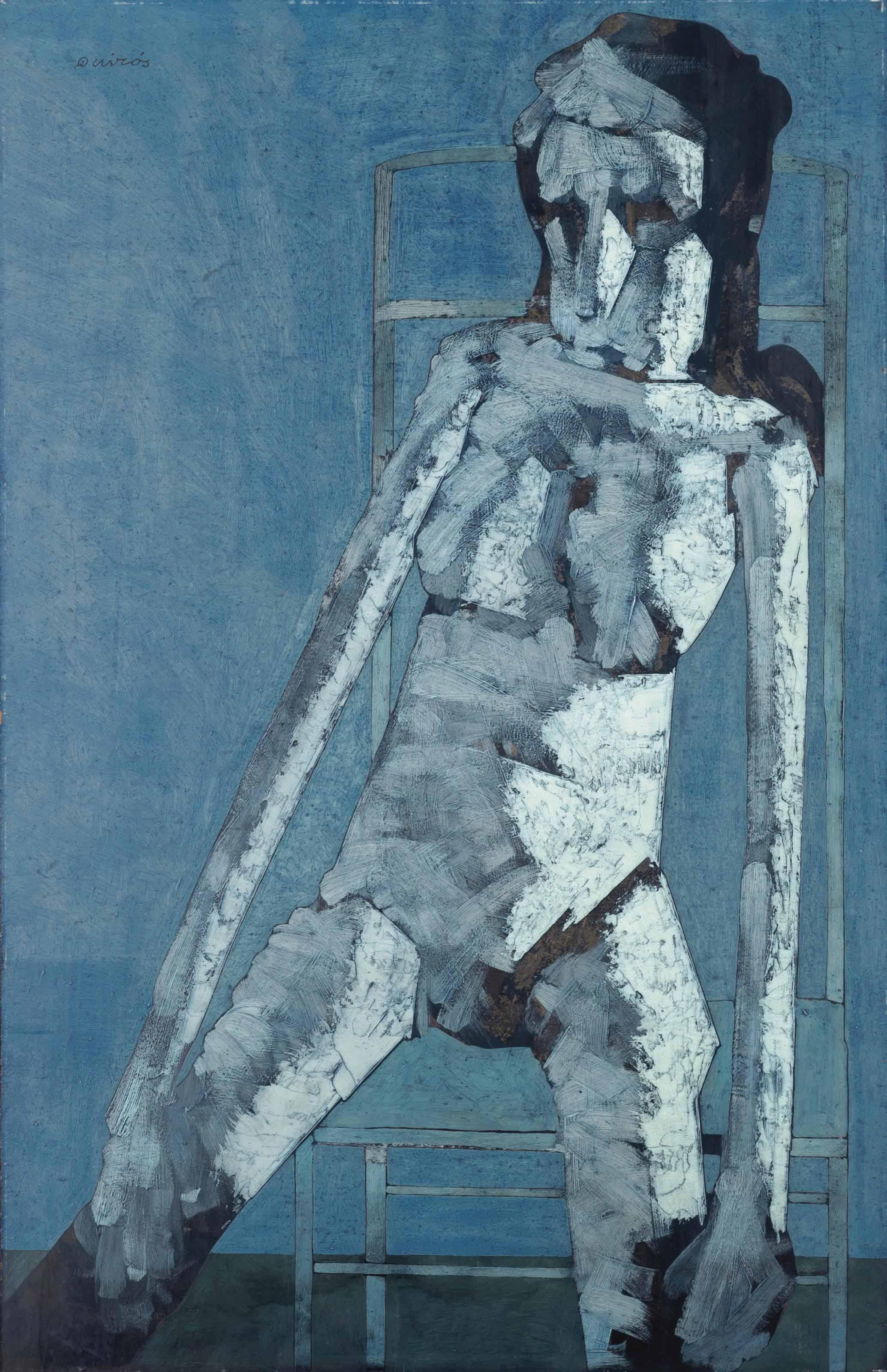 Mujer en azul sentada