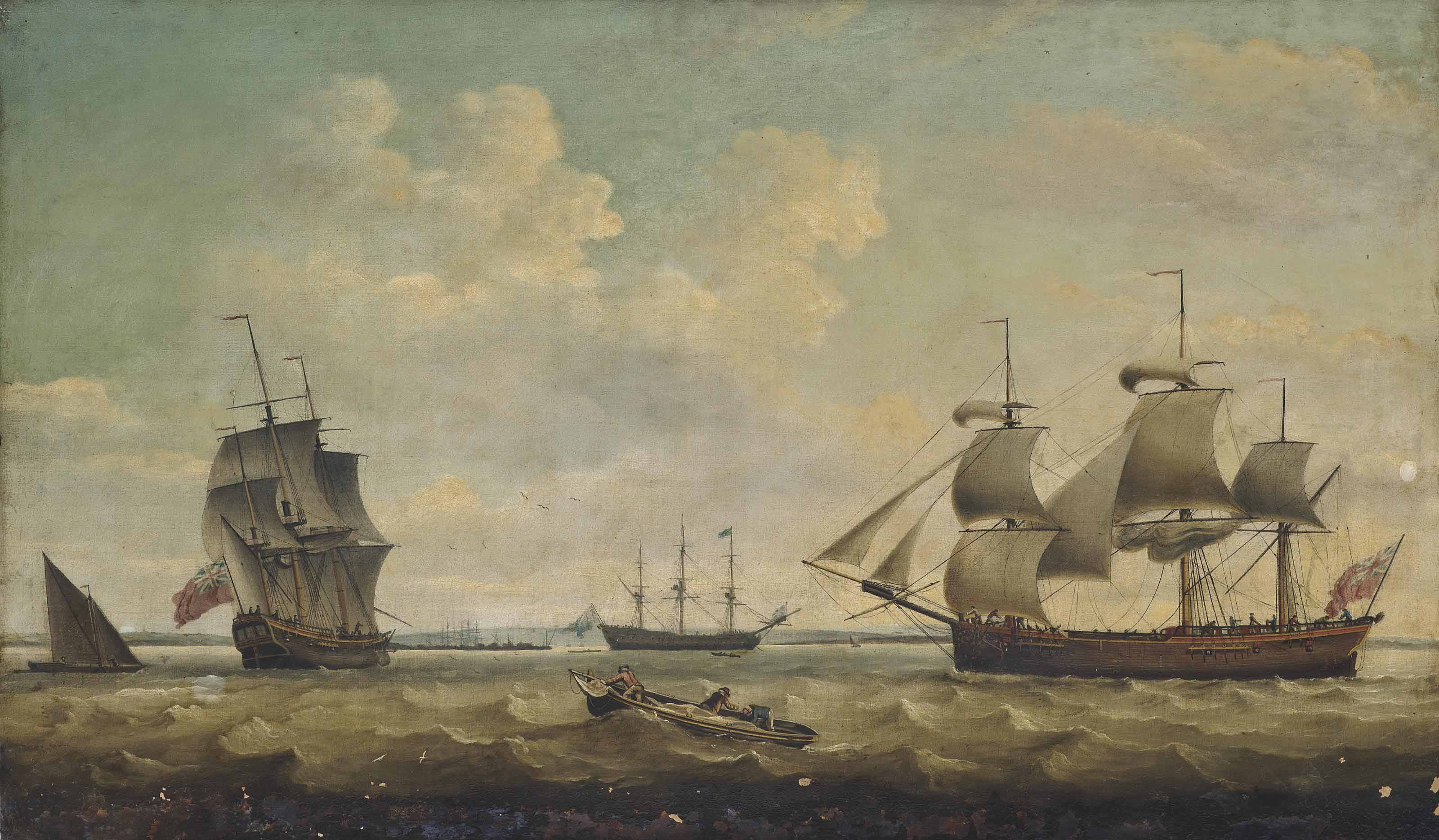 A merchantman, in two positions, off Harwich with a large Royal Navy warship lying at anchor inshore
