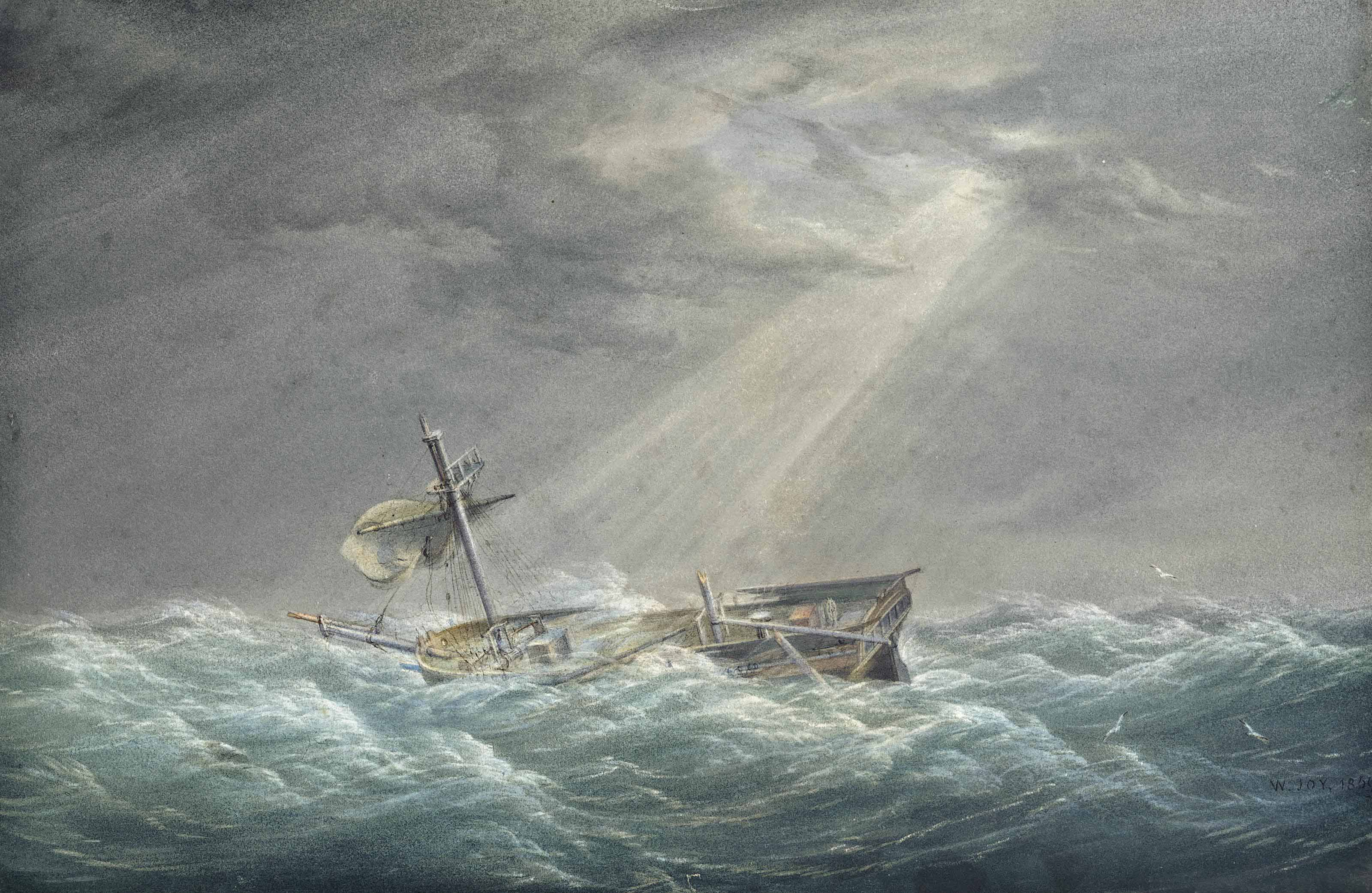 Shipwreck: The sun breaking through the clouds after the storm