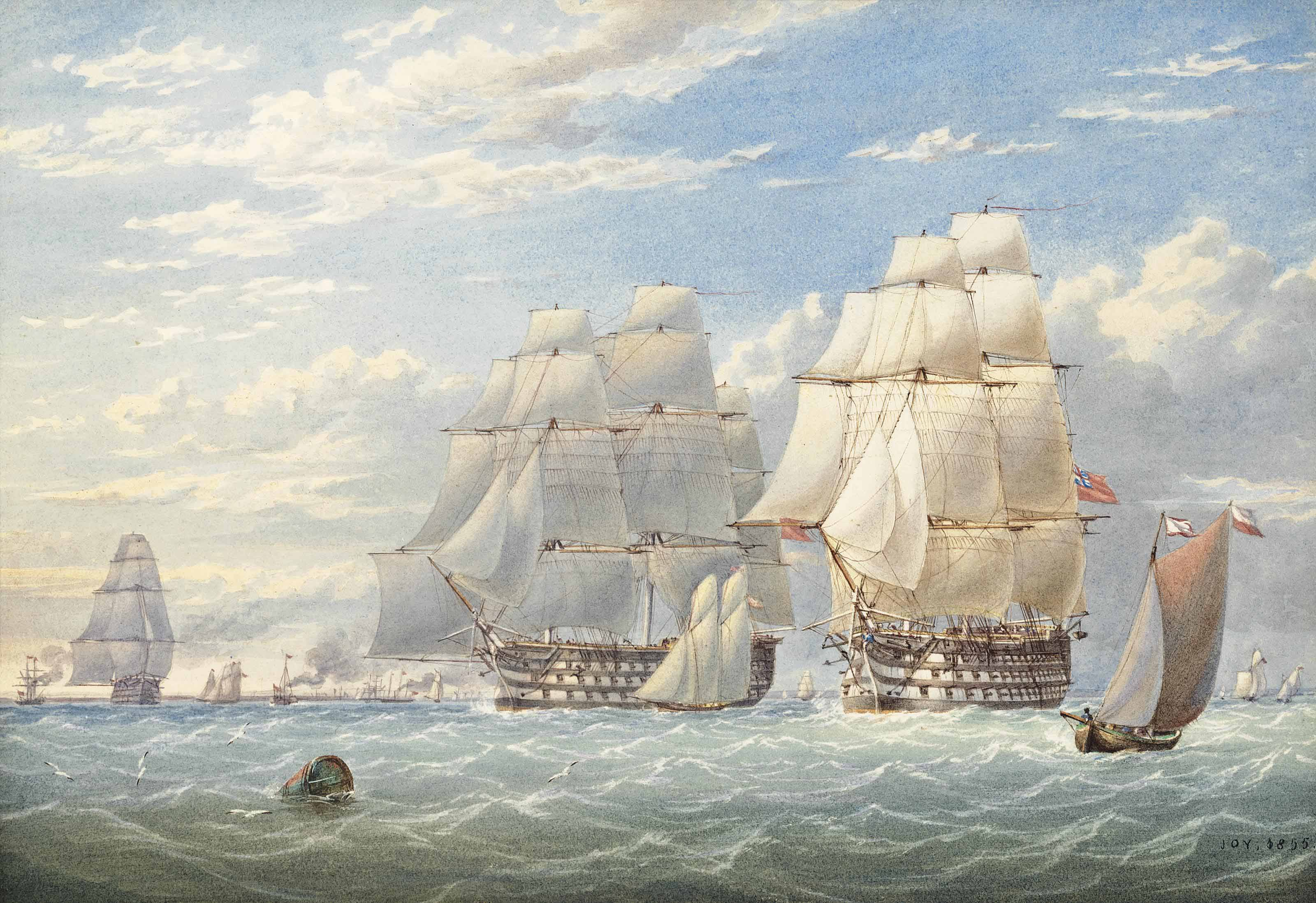 H.M.S. Trafalgar and H.M.S. St. Vincent at Spithead