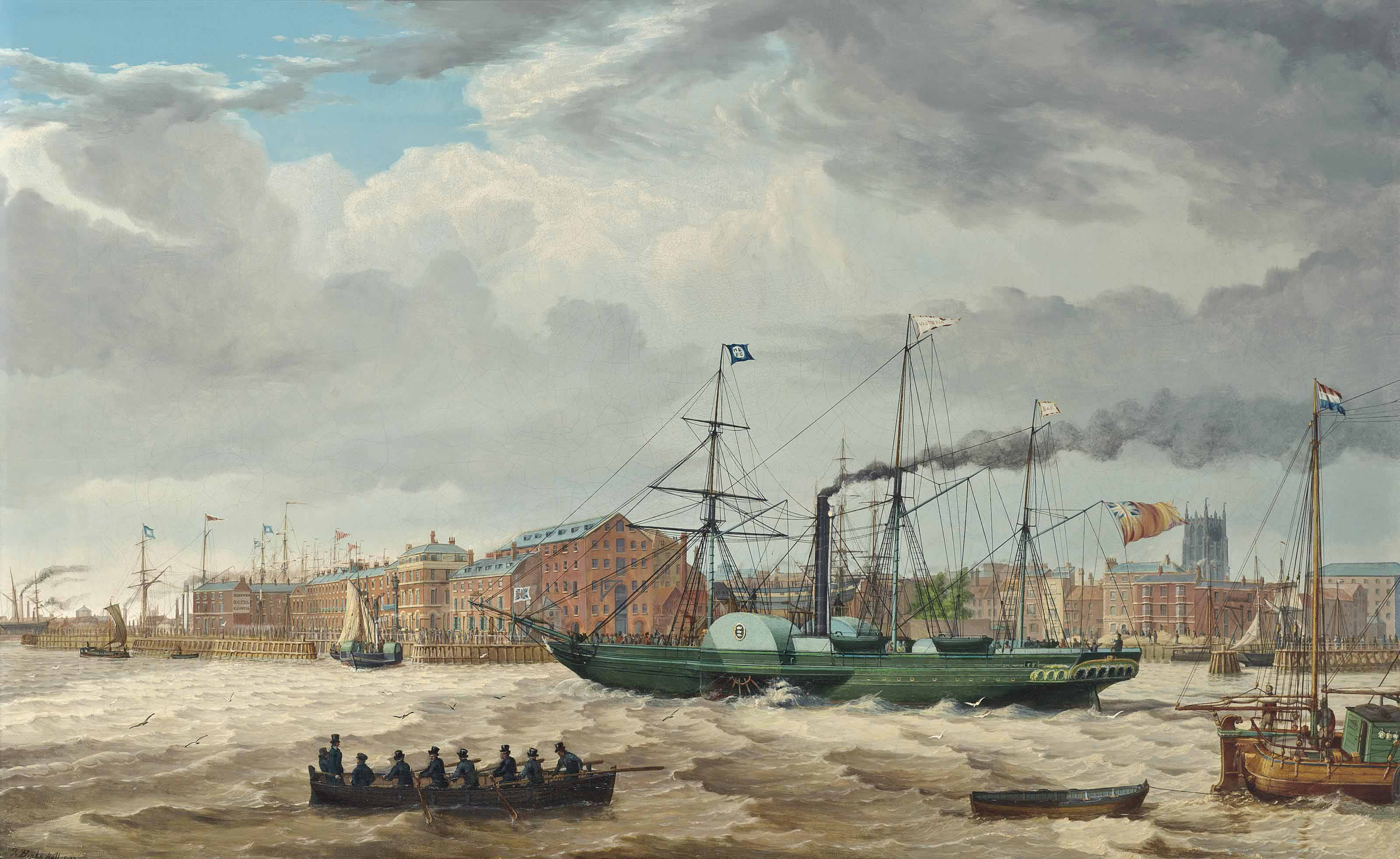 The Hull Steam Packet Co.'s paddlesteamer Victoria proceeding past the Hull waterfront