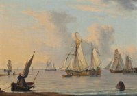 Dutch fishing barges and other vessels on the Humber in a calm